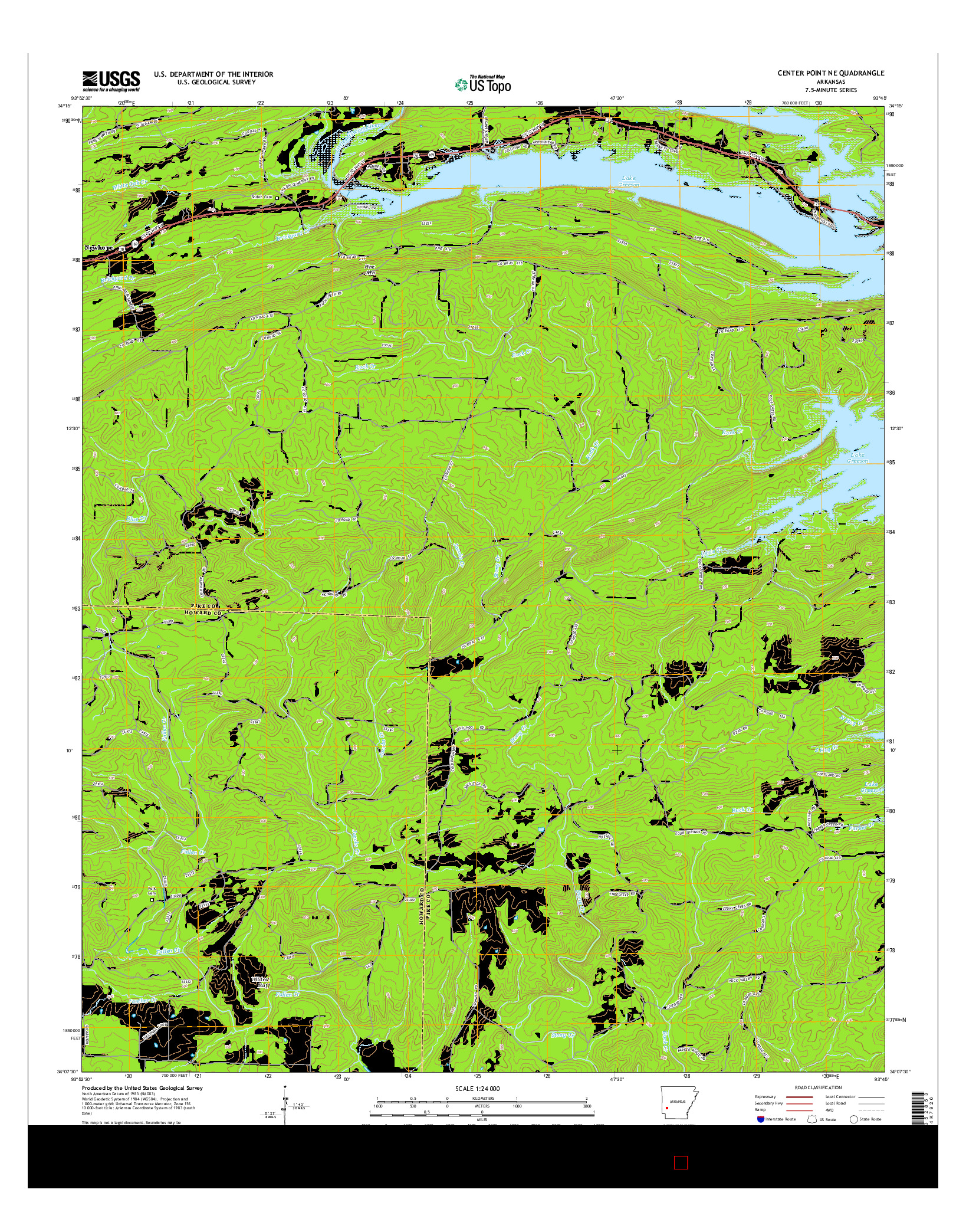 USGS US TOPO 7.5-MINUTE MAP FOR CENTER POINT NE, AR 2014