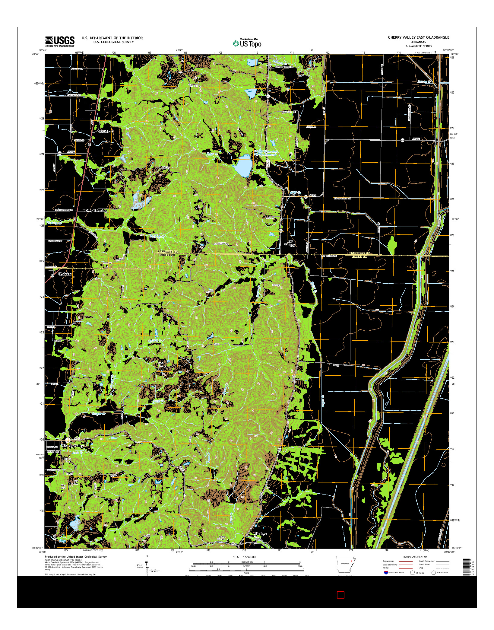 USGS US TOPO 7.5-MINUTE MAP FOR CHERRY VALLEY EAST, AR 2014