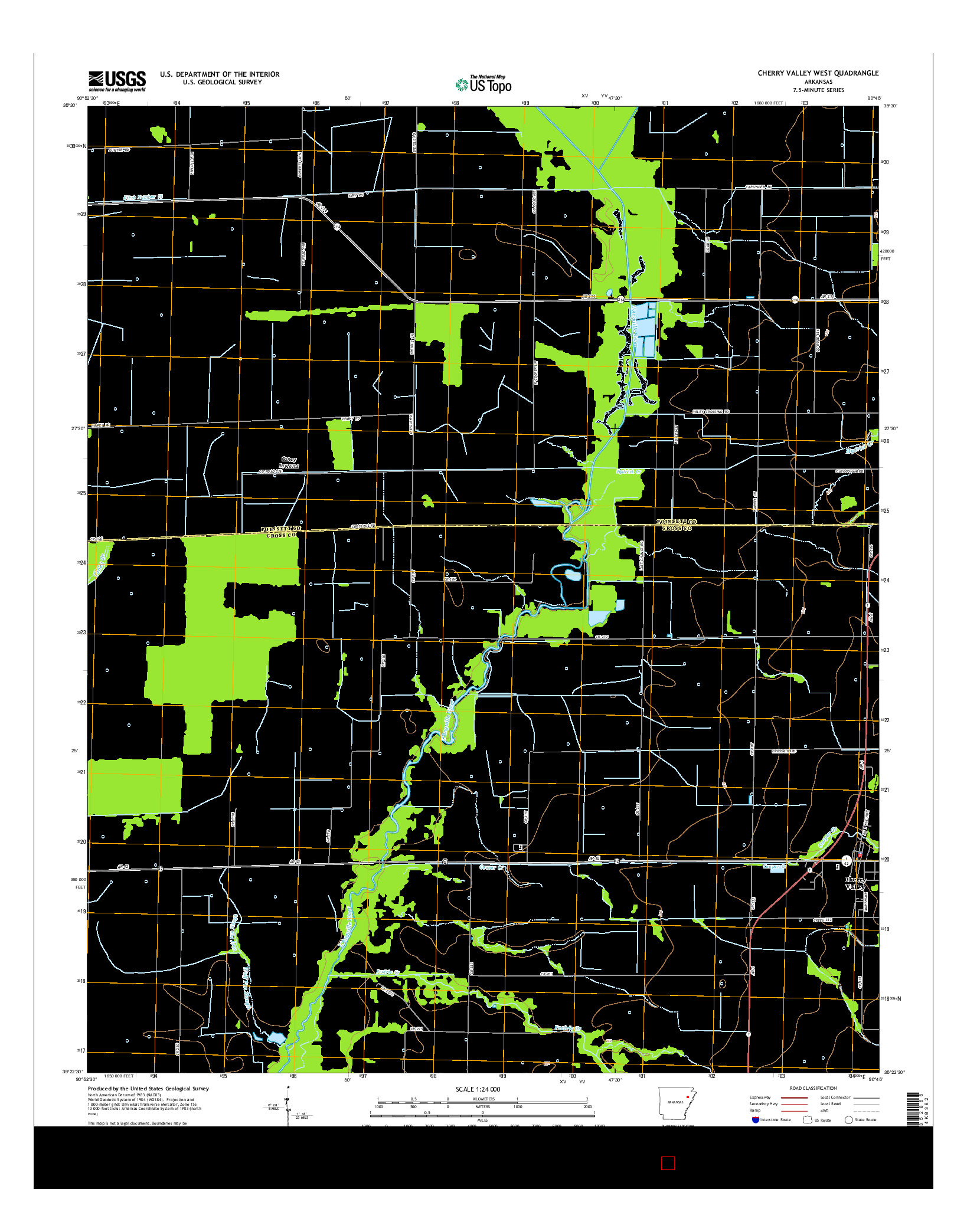 USGS US TOPO 7.5-MINUTE MAP FOR CHERRY VALLEY WEST, AR 2014