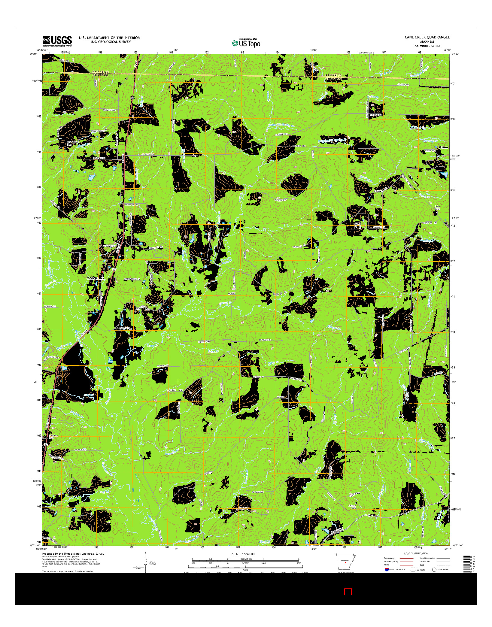 USGS US TOPO 7.5-MINUTE MAP FOR CANE CREEK, AR 2014