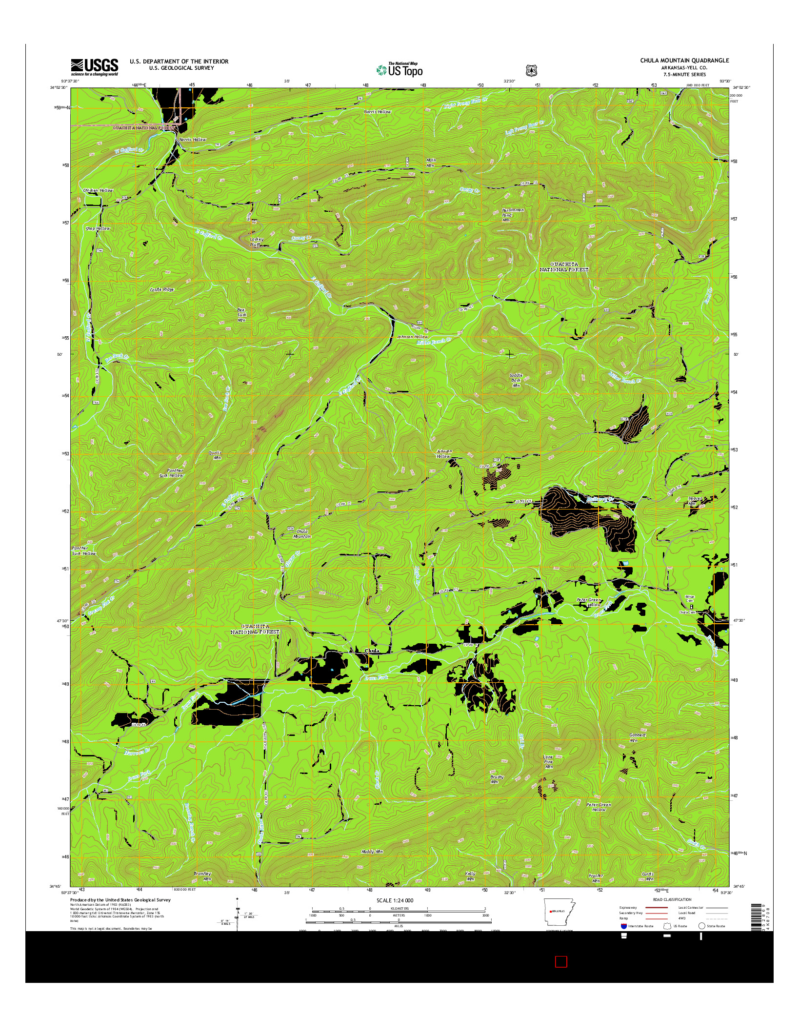 USGS US TOPO 7.5-MINUTE MAP FOR CHULA MOUNTAIN, AR 2014