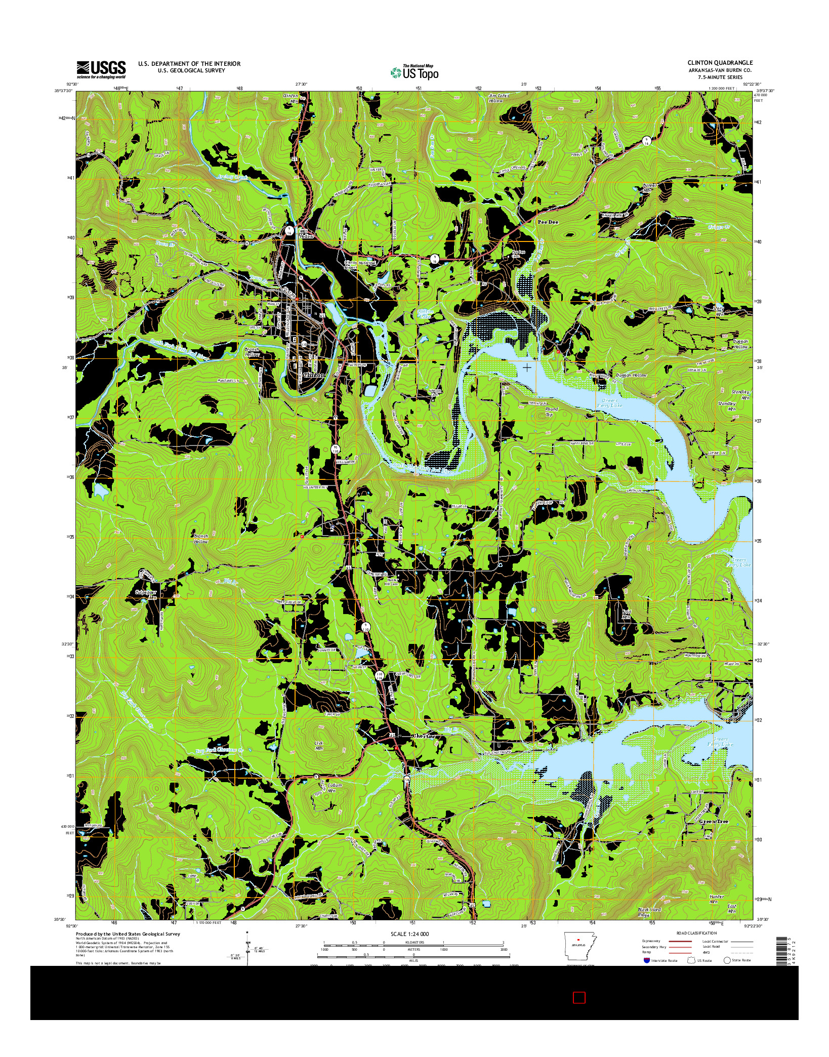 USGS US TOPO 7.5-MINUTE MAP FOR CLINTON, AR 2014