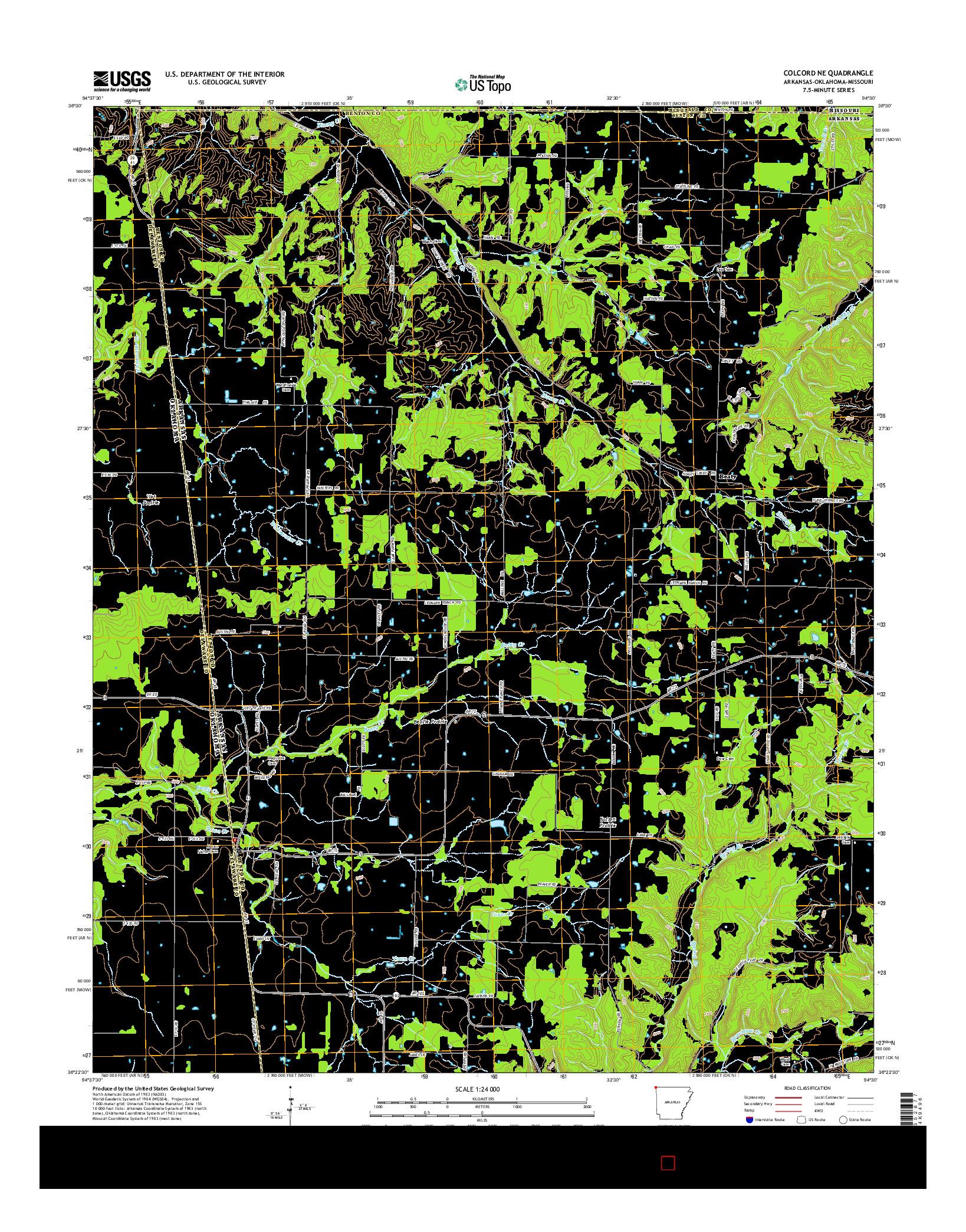 USGS US TOPO 7.5-MINUTE MAP FOR COLCORD NE, AR-OK-MO 2014