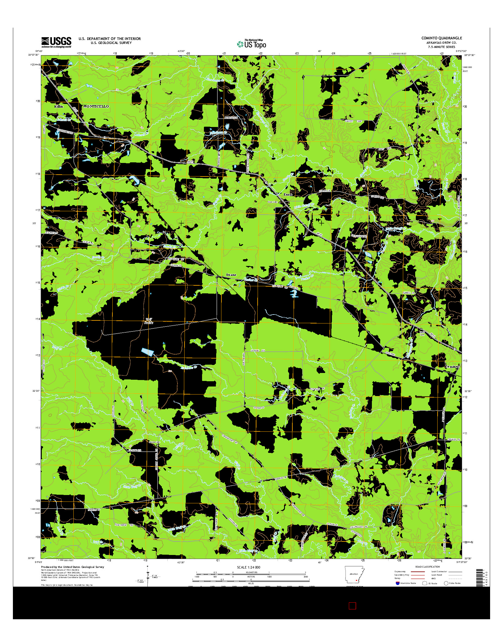 USGS US TOPO 7.5-MINUTE MAP FOR COMINTO, AR 2014