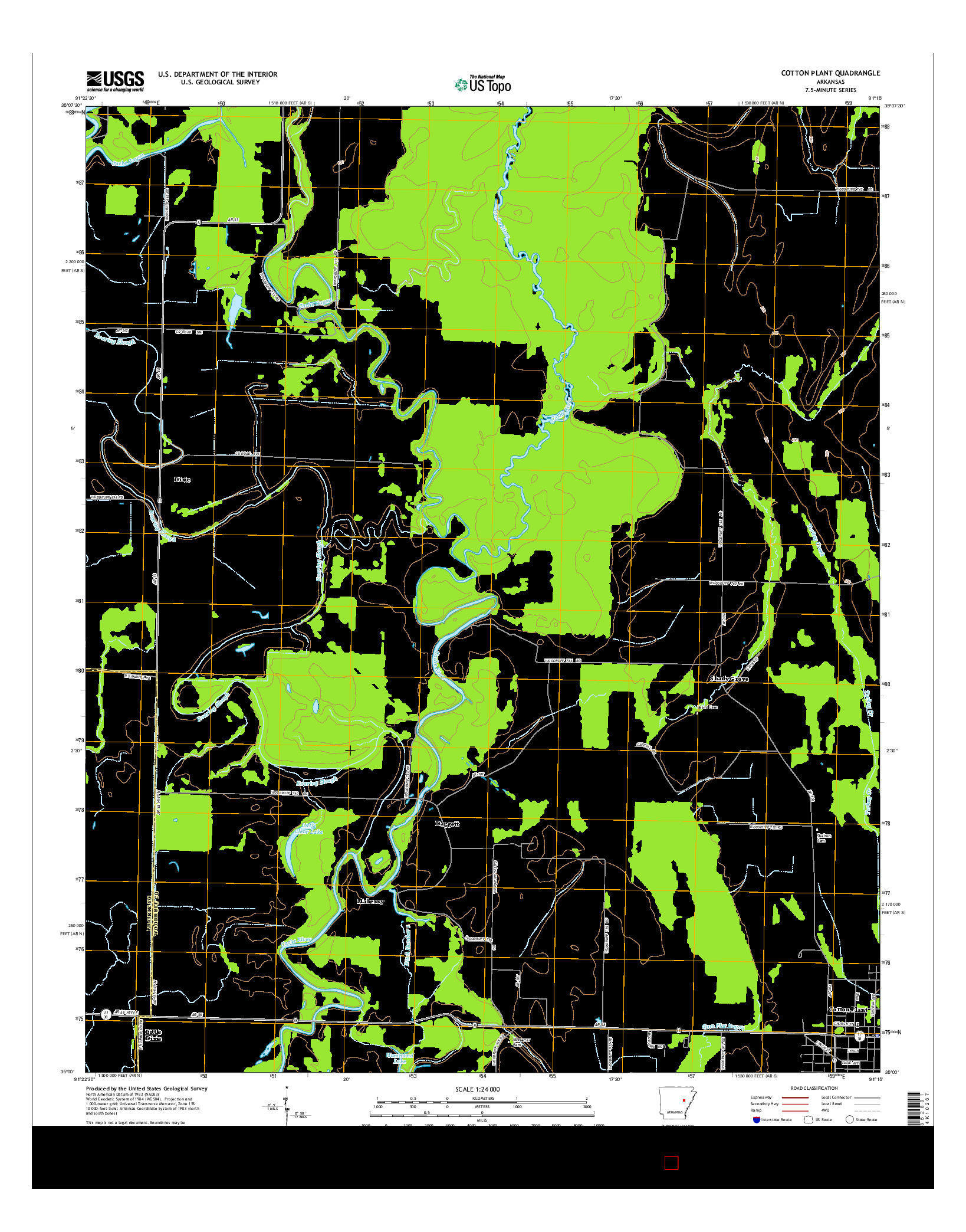 USGS US TOPO 7.5-MINUTE MAP FOR COTTON PLANT, AR 2014