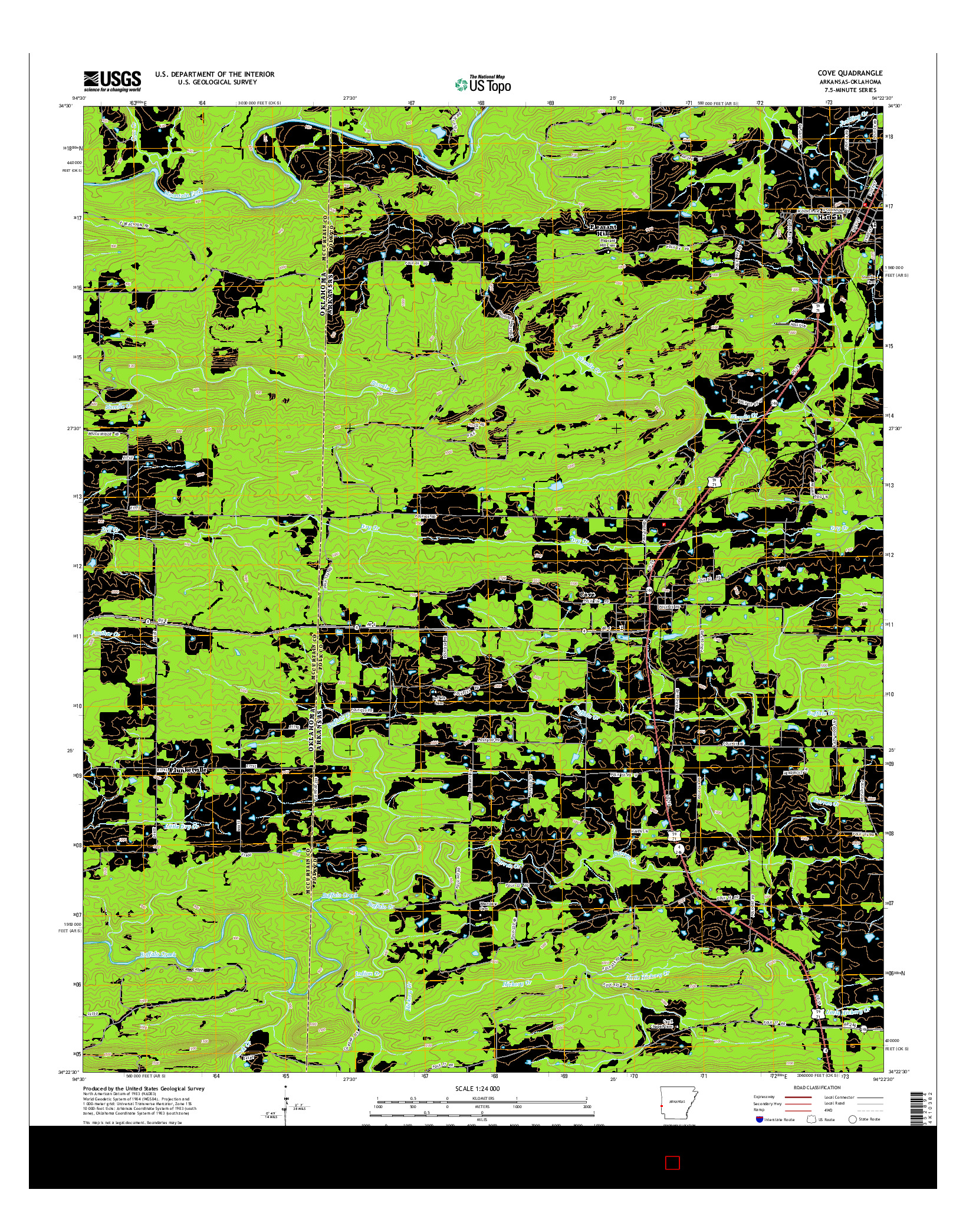 USGS US TOPO 7.5-MINUTE MAP FOR COVE, AR-OK 2014