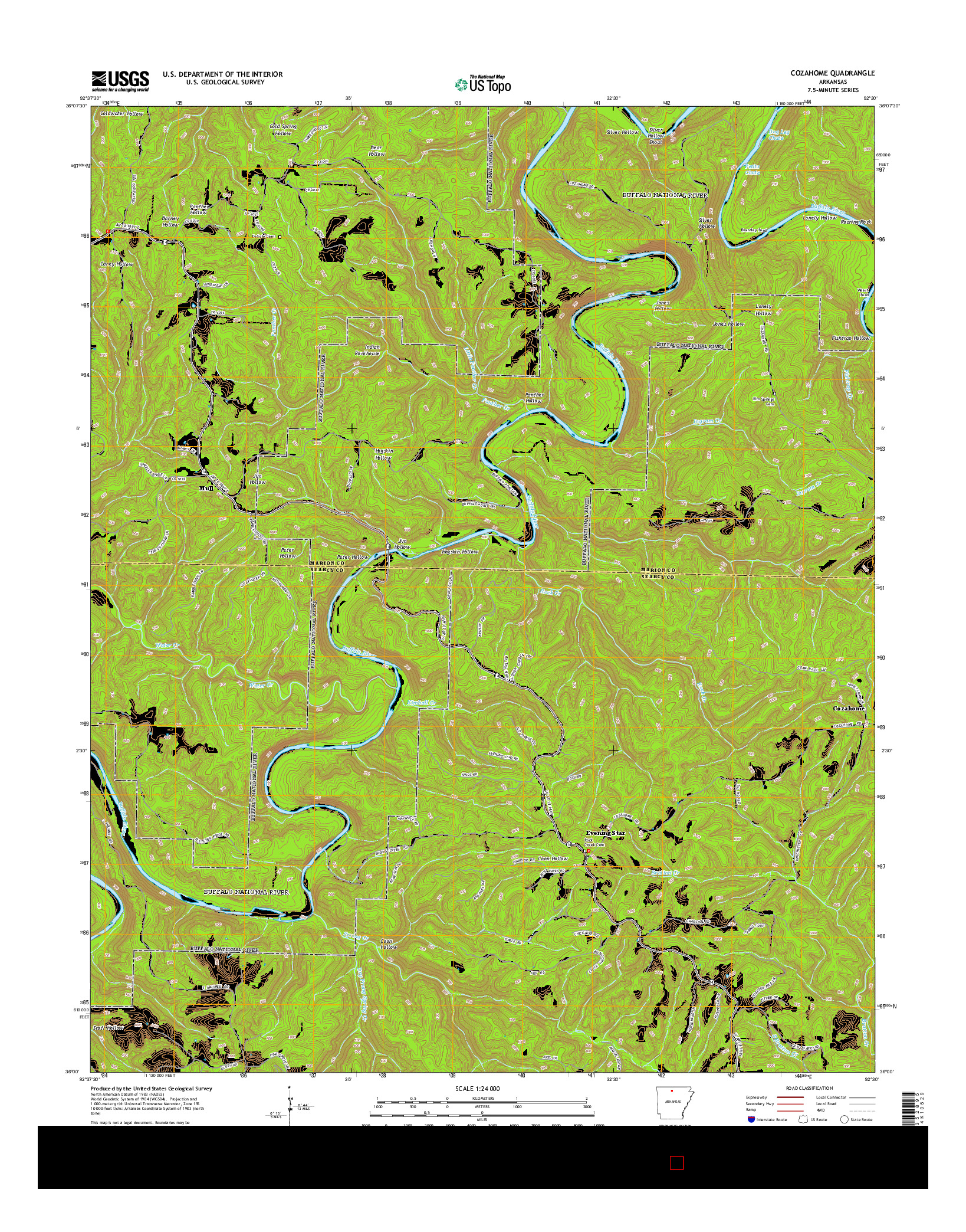 USGS US TOPO 7.5-MINUTE MAP FOR COZAHOME, AR 2014