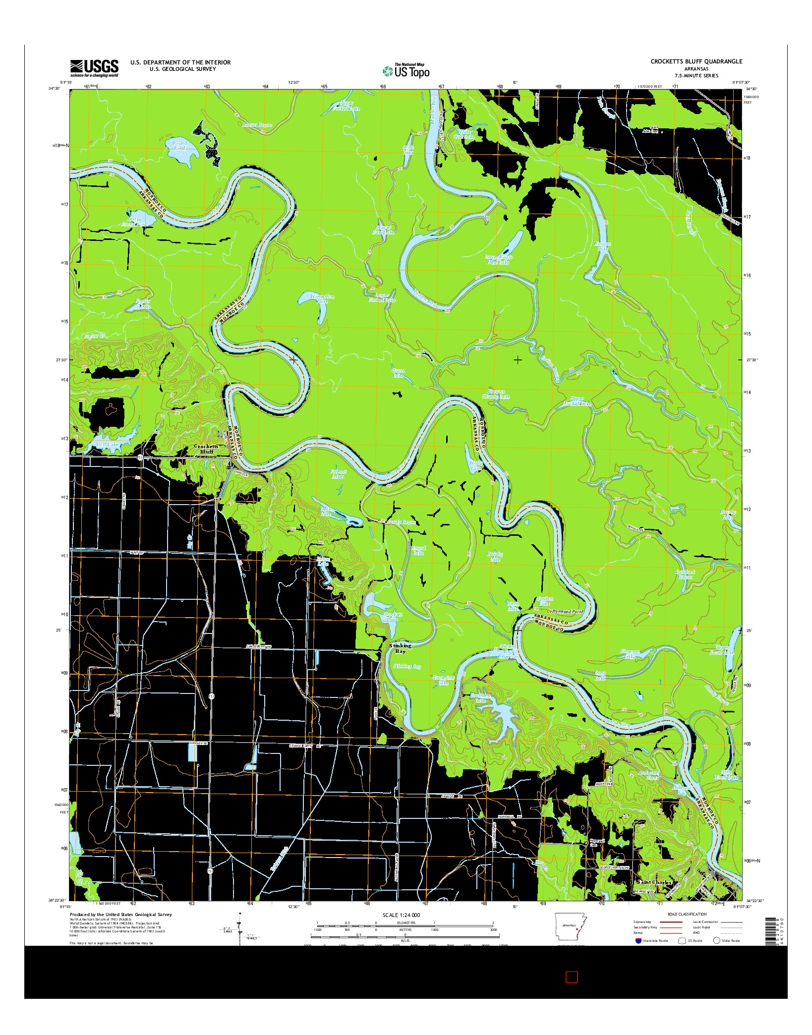 USGS US TOPO 7.5-MINUTE MAP FOR CROCKETTS BLUFF, AR 2014