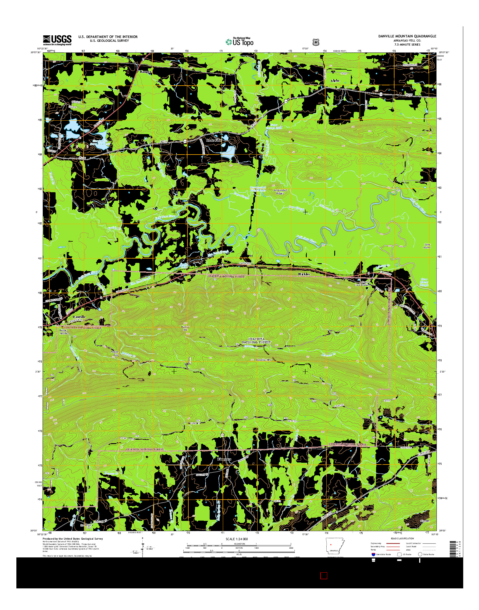 USGS US TOPO 7.5-MINUTE MAP FOR DANVILLE MOUNTAIN, AR 2014