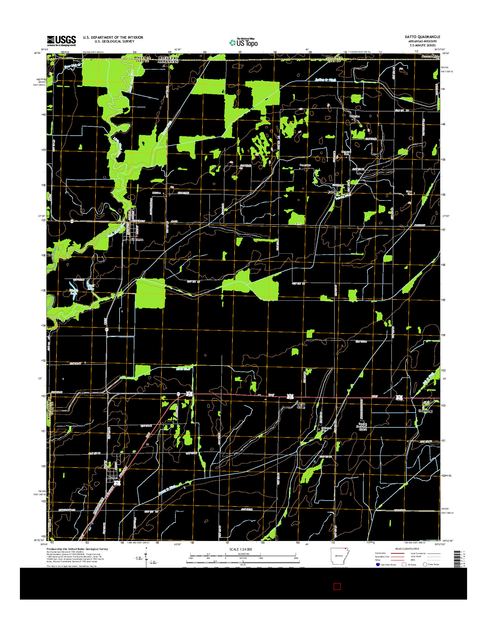 USGS US TOPO 7.5-MINUTE MAP FOR DATTO, AR-MO 2014