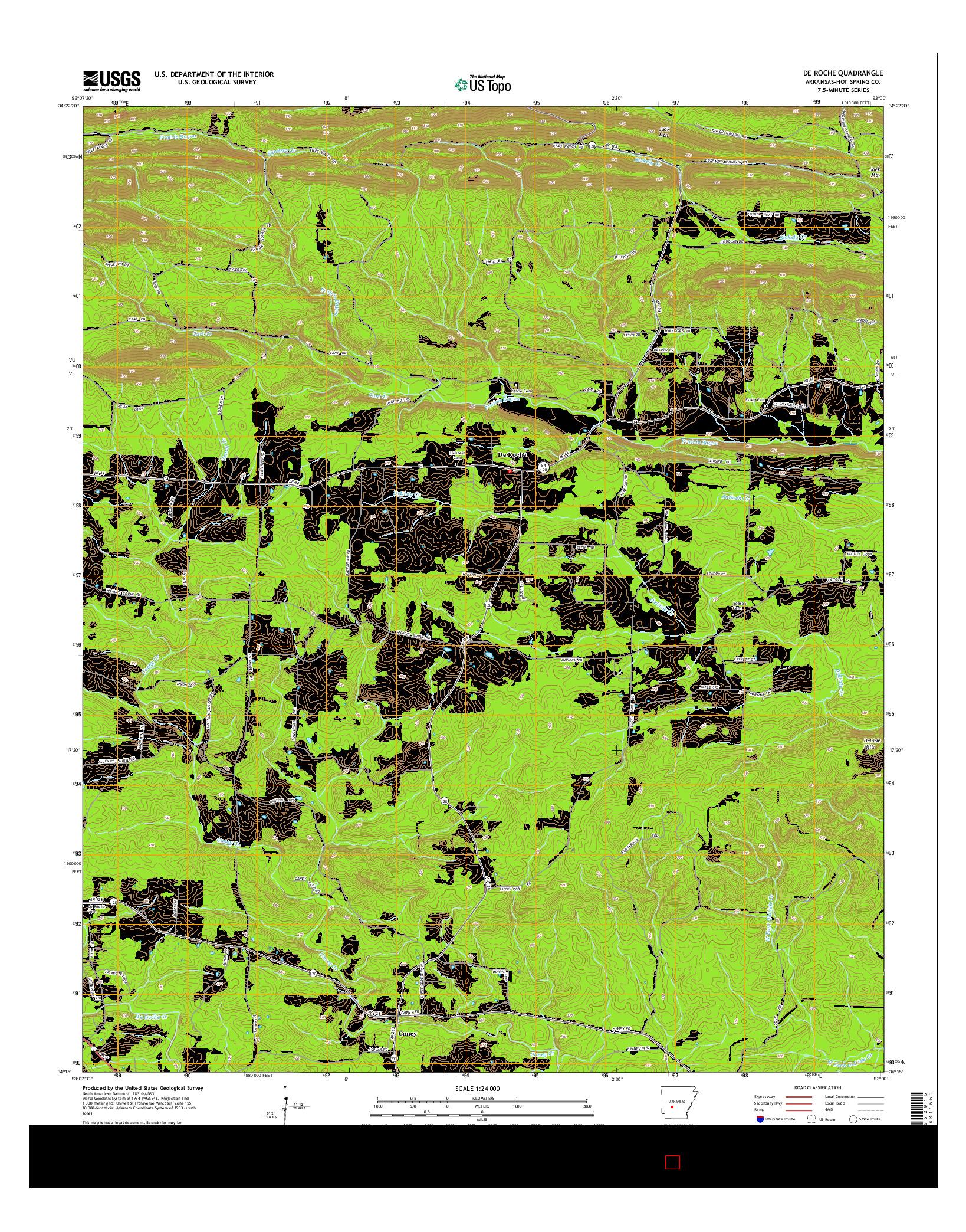 USGS US TOPO 7.5-MINUTE MAP FOR DE ROCHE, AR 2014