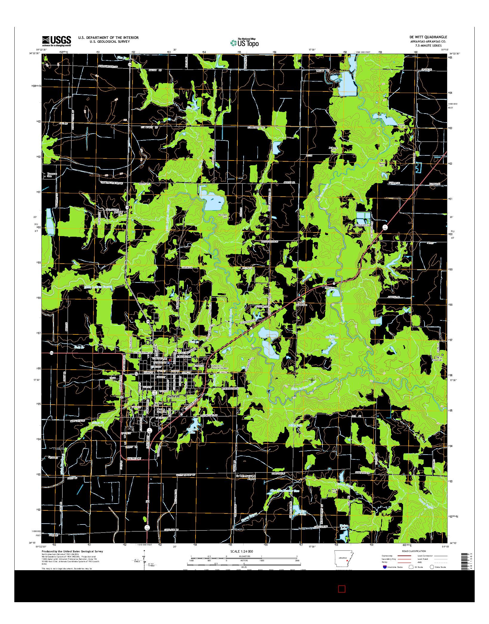 USGS US TOPO 7.5-MINUTE MAP FOR DE WITT, AR 2014