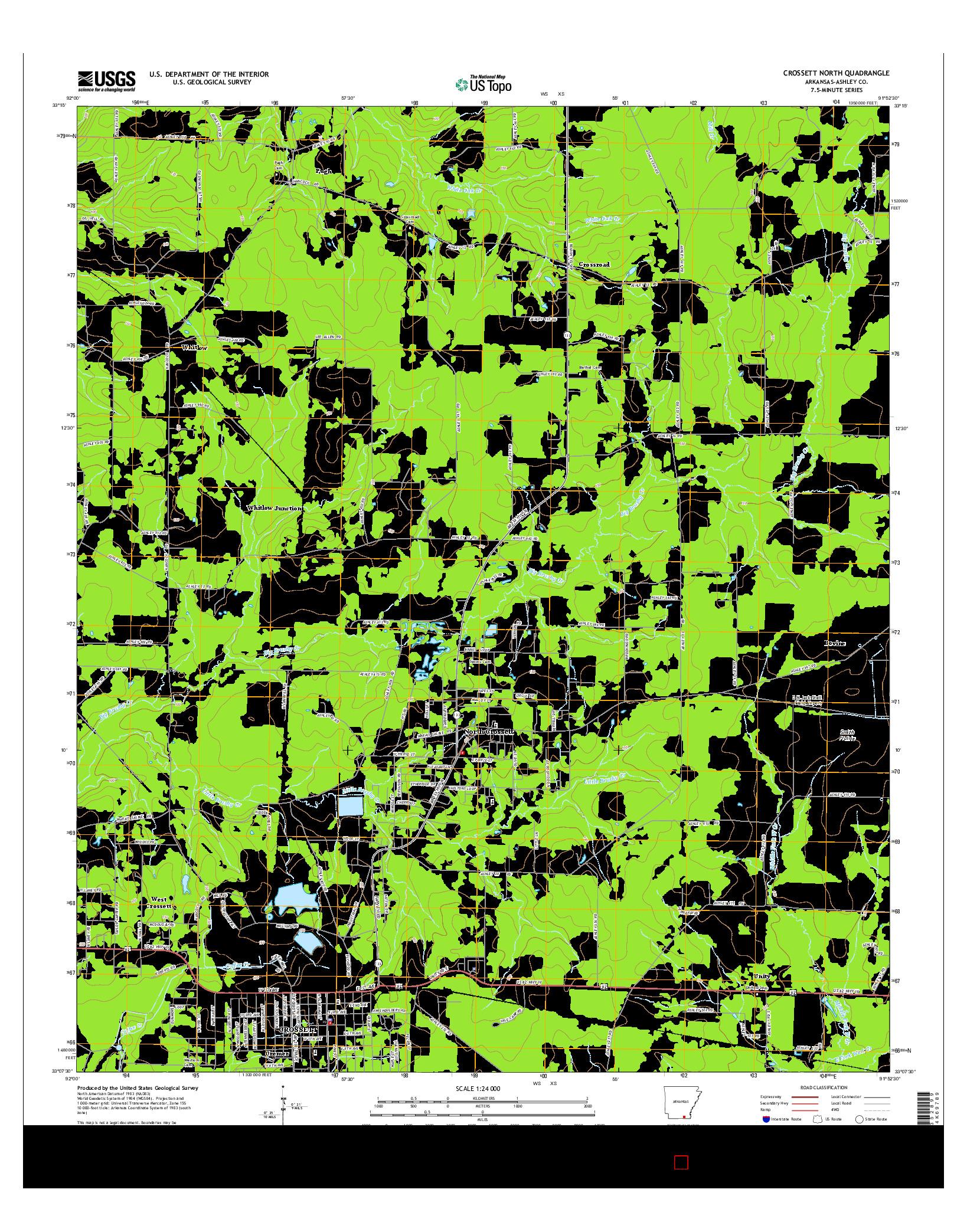 USGS US TOPO 7.5-MINUTE MAP FOR CROSSETT NORTH, AR 2014