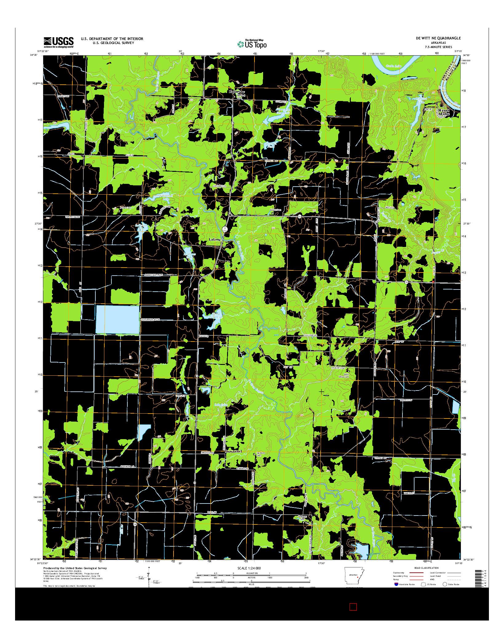 USGS US TOPO 7.5-MINUTE MAP FOR DE WITT NE, AR 2014