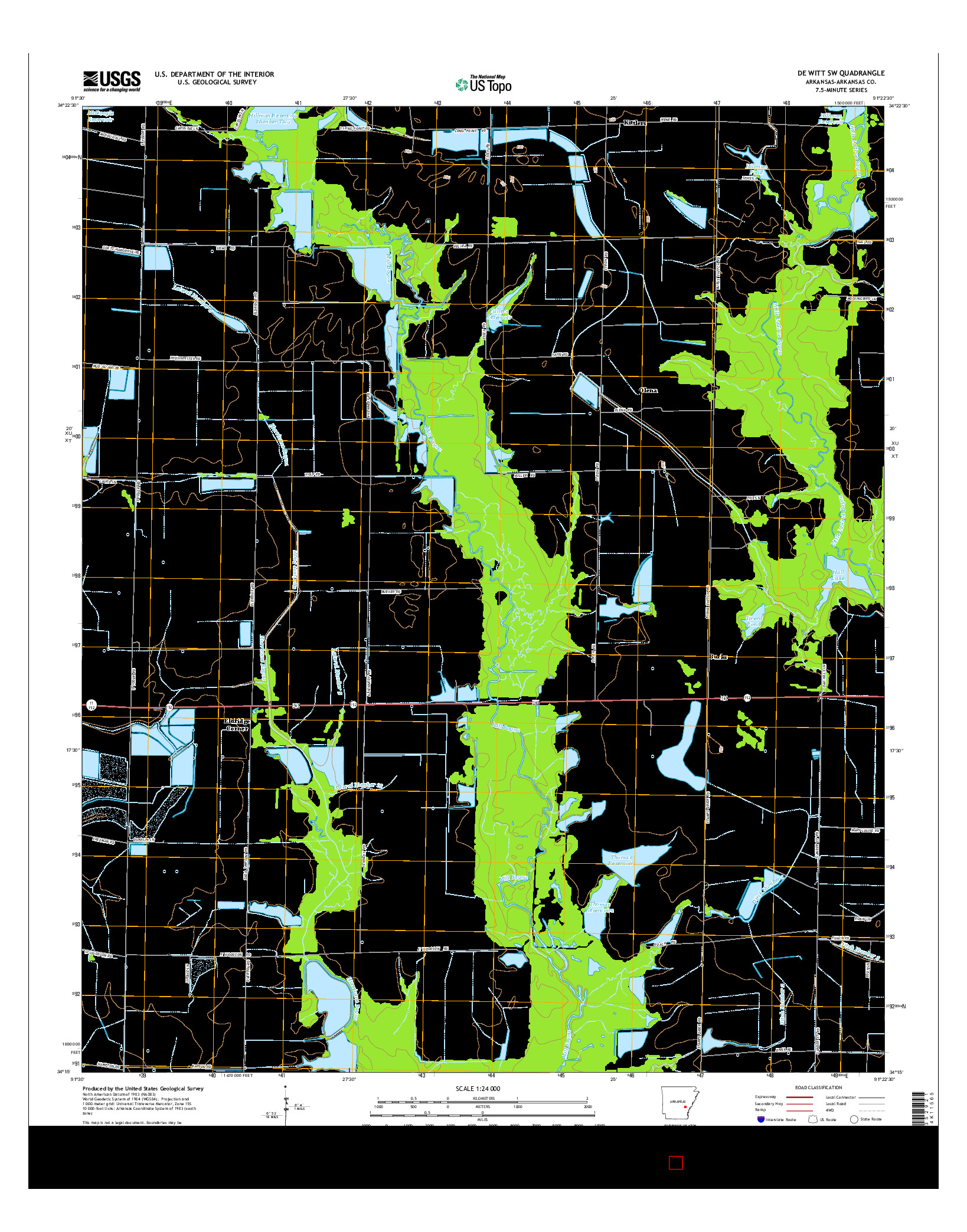USGS US TOPO 7.5-MINUTE MAP FOR DE WITT SW, AR 2014