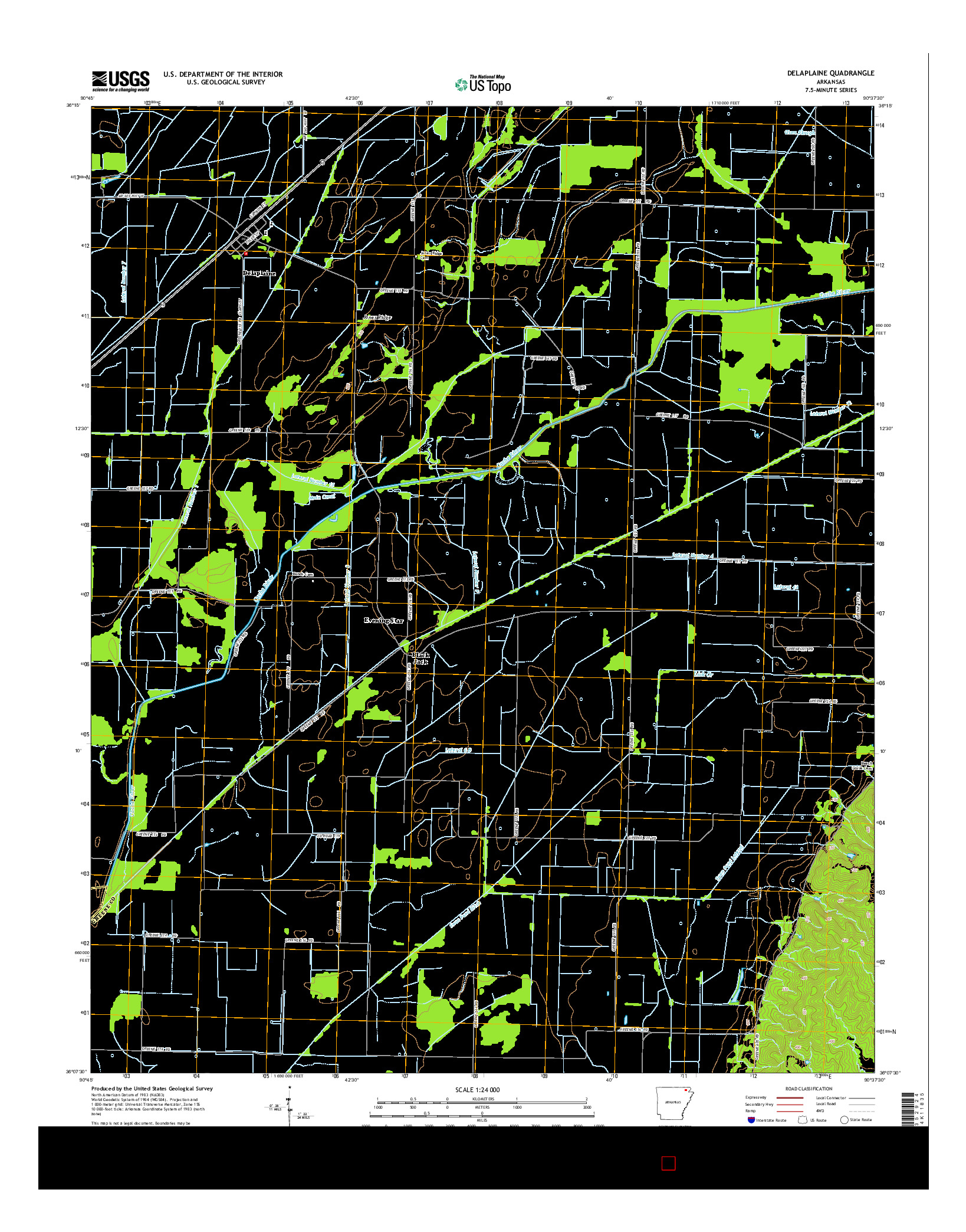 USGS US TOPO 7.5-MINUTE MAP FOR DELAPLAINE, AR 2014