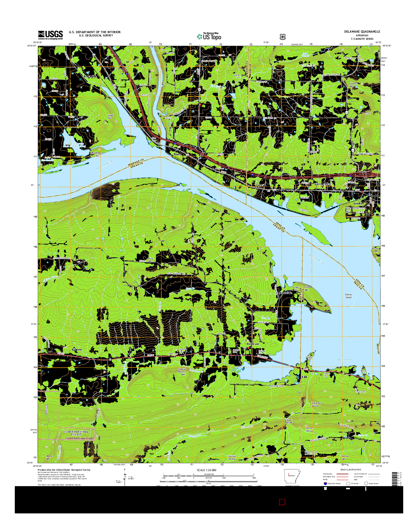 USGS US TOPO 7.5-MINUTE MAP FOR DELAWARE, AR 2014