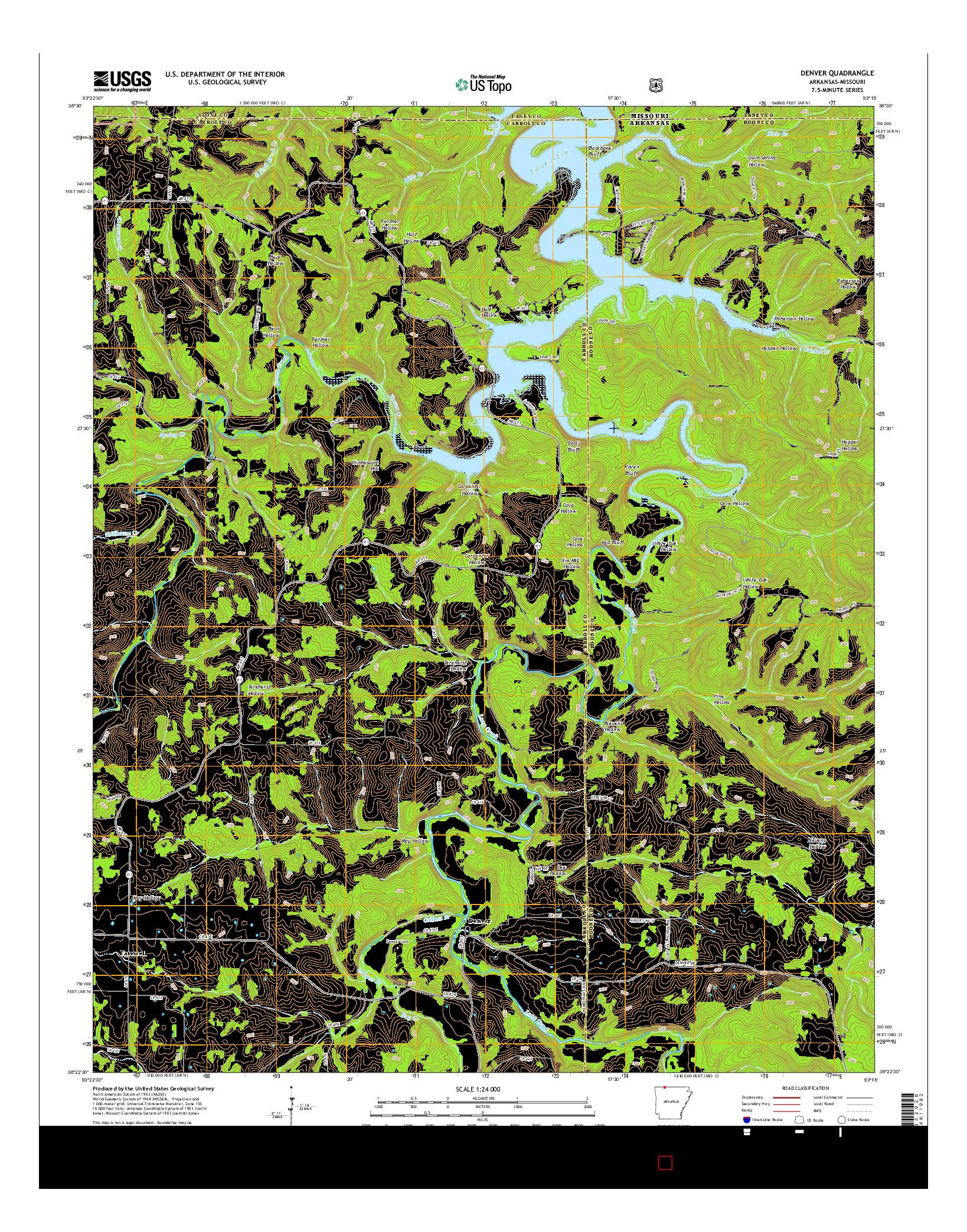 USGS US TOPO 7.5-MINUTE MAP FOR DENVER, AR-MO 2014