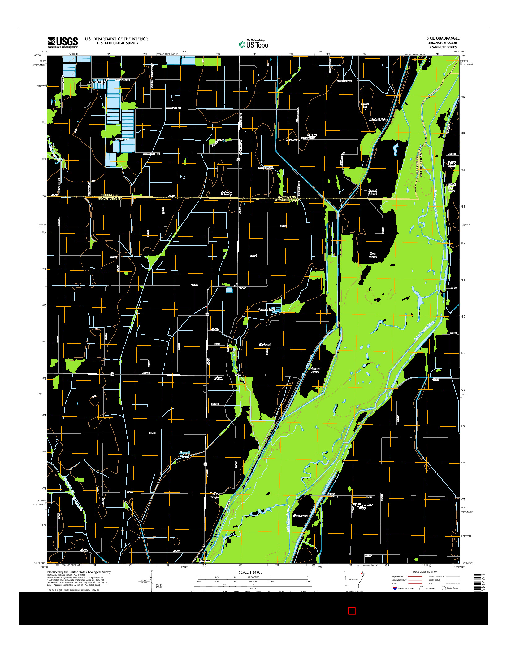 USGS US TOPO 7.5-MINUTE MAP FOR DIXIE, AR-MO 2014