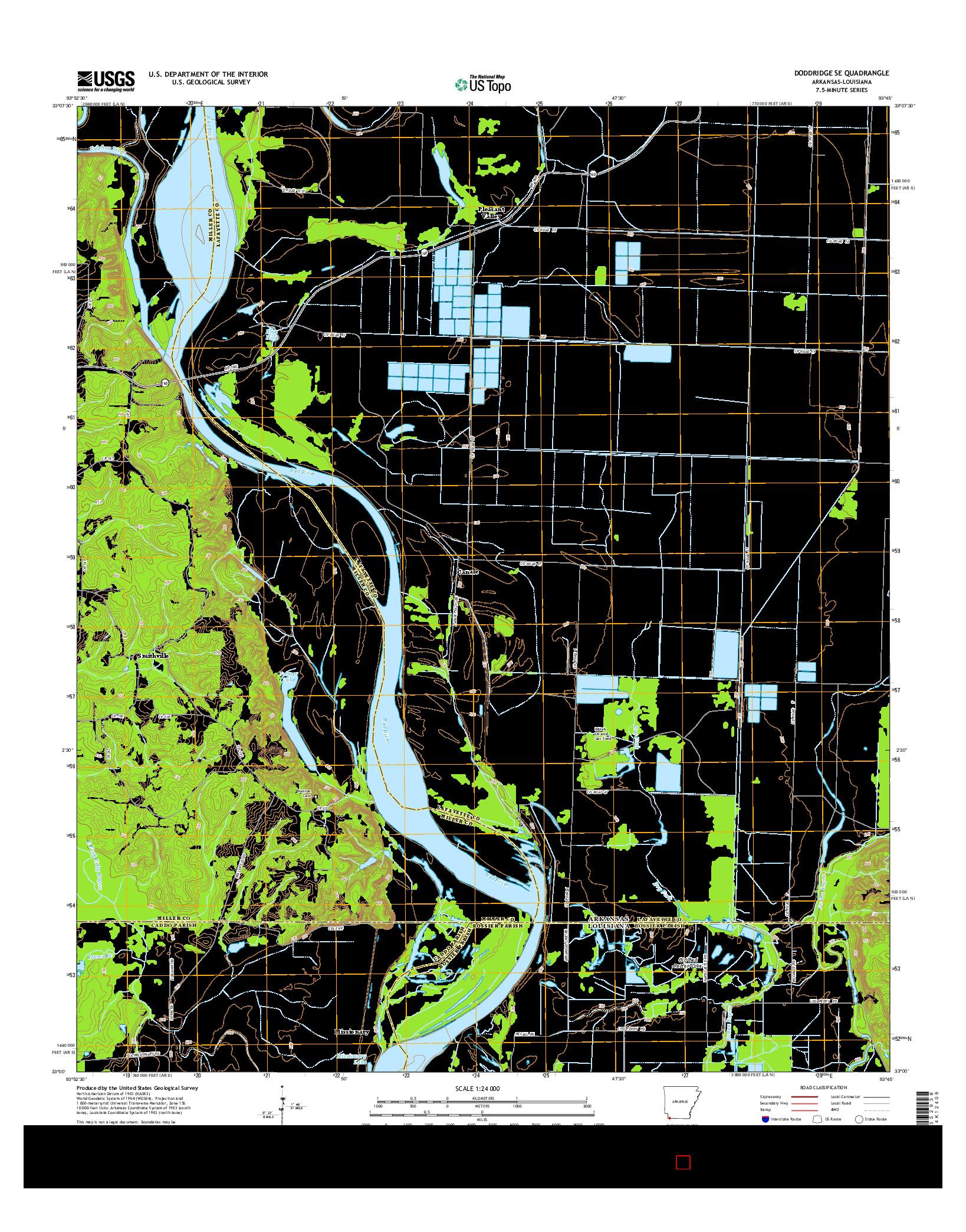 USGS US TOPO 7.5-MINUTE MAP FOR DODDRIDGE SE, AR-LA 2014
