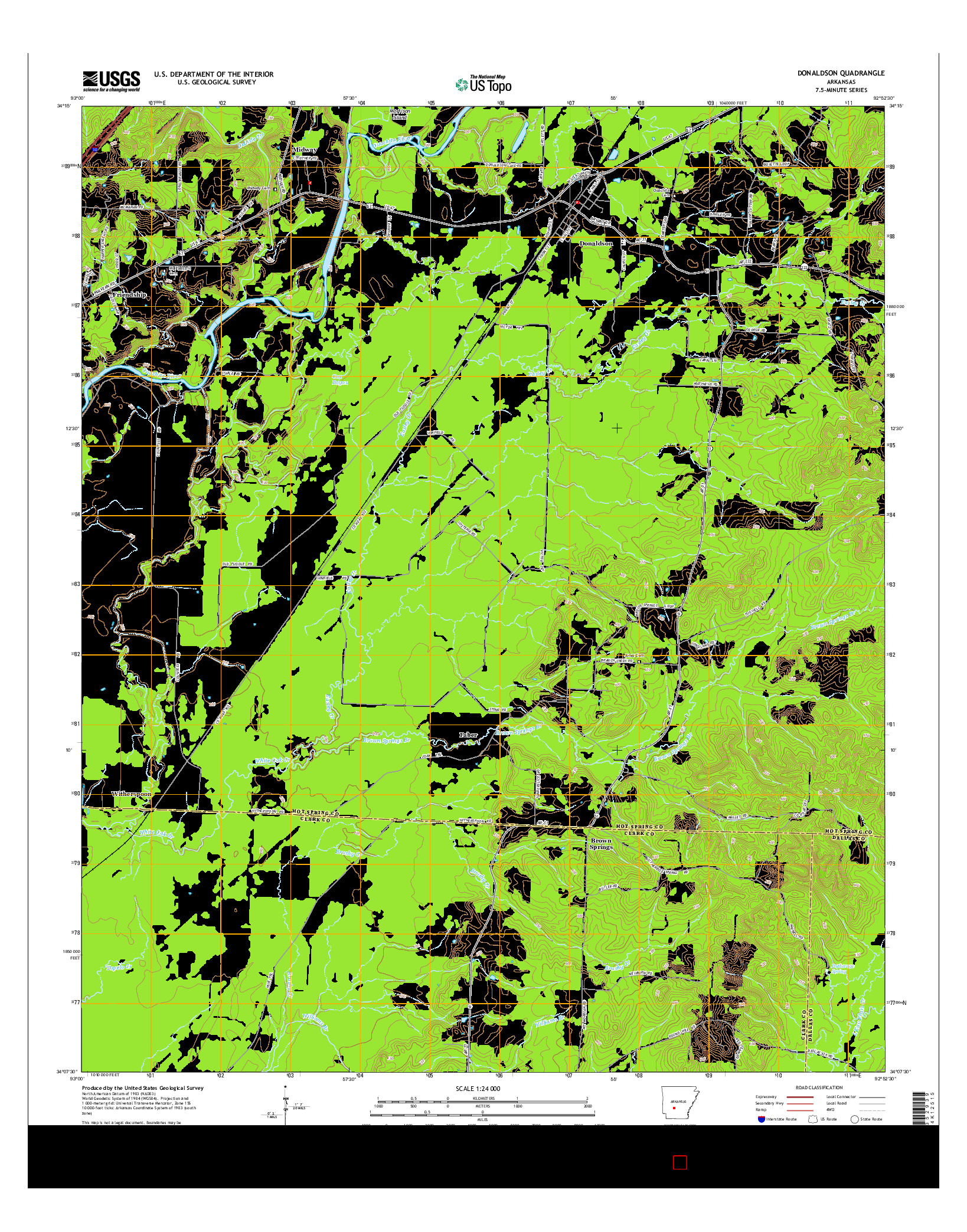 USGS US TOPO 7.5-MINUTE MAP FOR DONALDSON, AR 2014