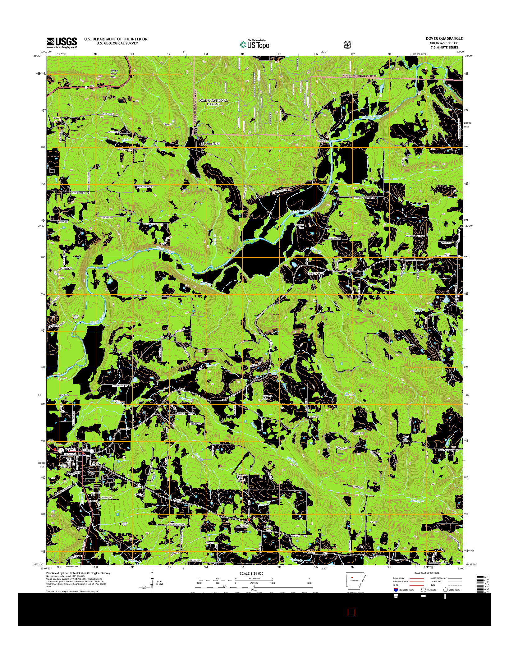 USGS US TOPO 7.5-MINUTE MAP FOR DOVER, AR 2014