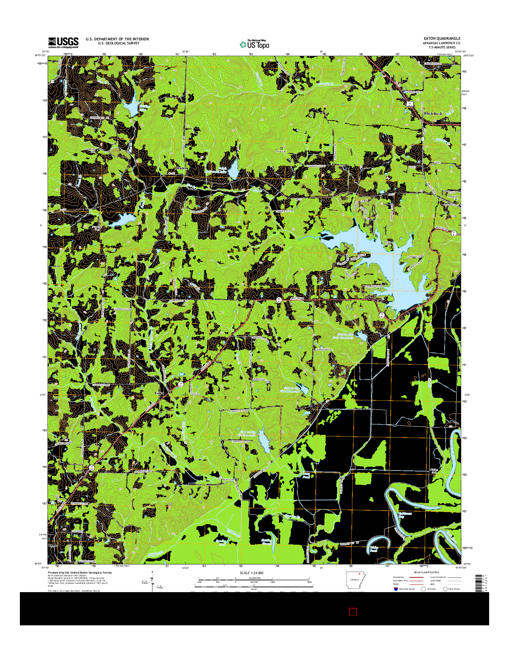 USGS US TOPO 7.5-MINUTE MAP FOR EATON, AR 2014