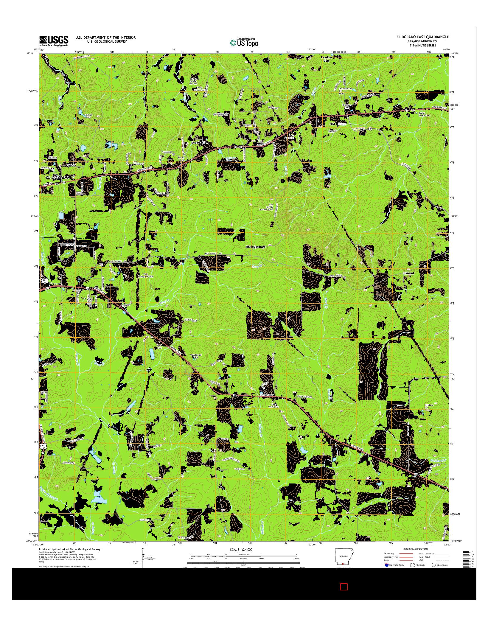USGS US TOPO 7.5-MINUTE MAP FOR EL DORADO EAST, AR 2014