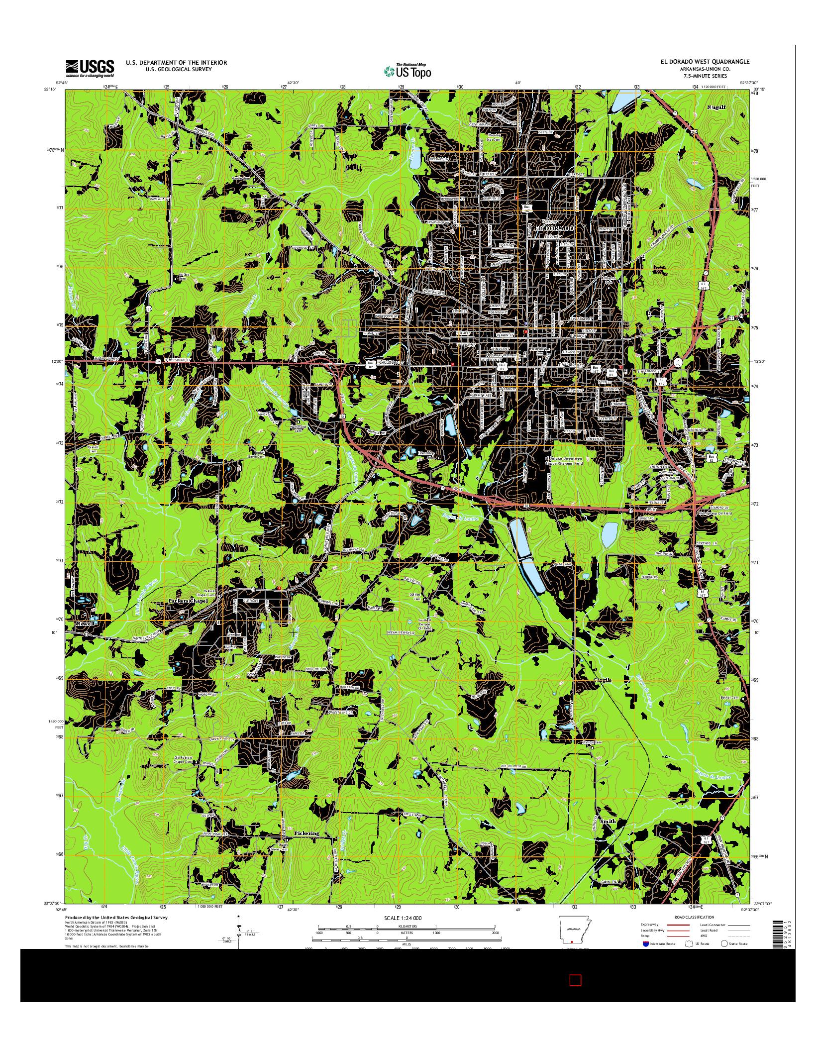 USGS US TOPO 7.5-MINUTE MAP FOR EL DORADO WEST, AR 2014