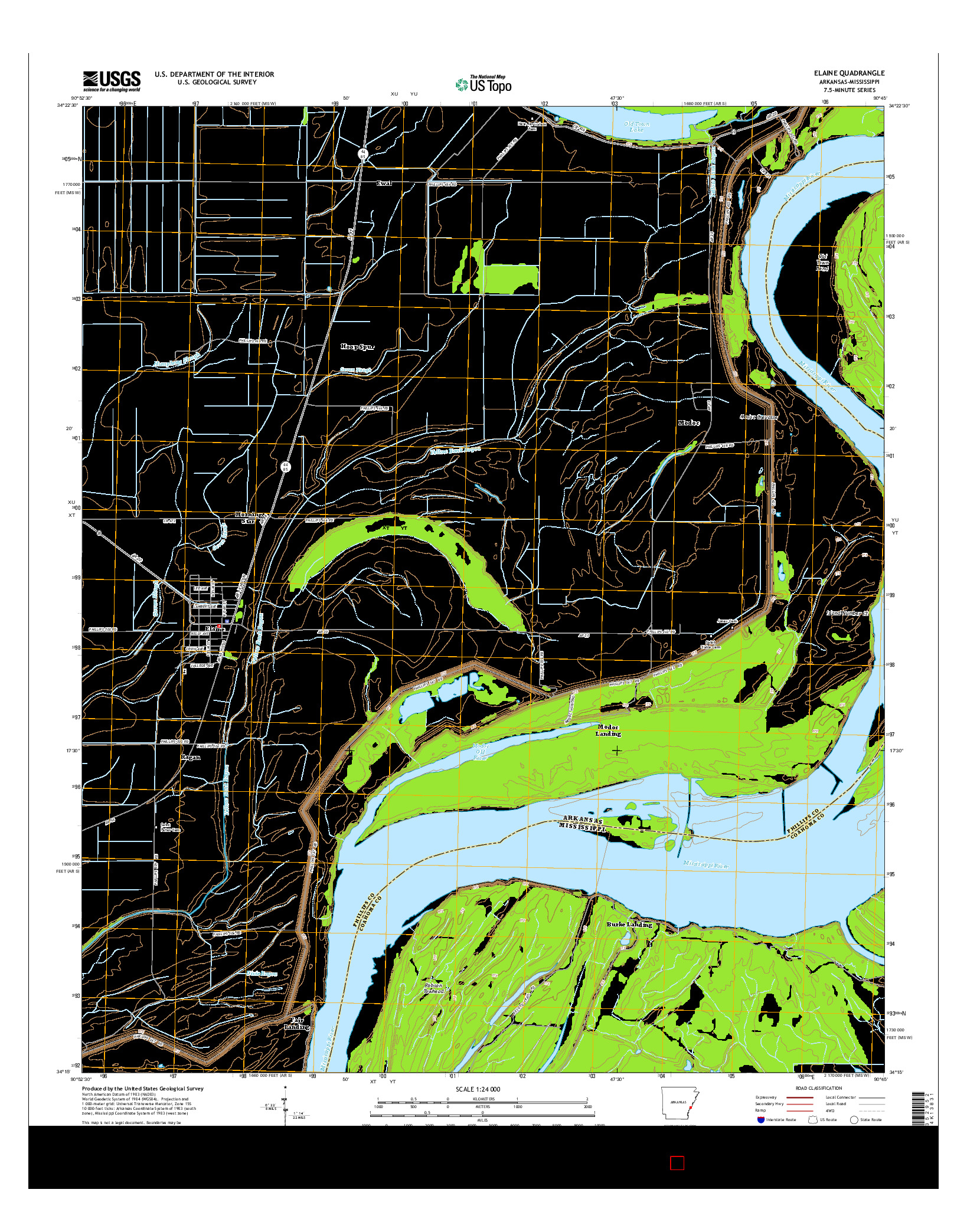USGS US TOPO 7.5-MINUTE MAP FOR ELAINE, AR-MS 2014