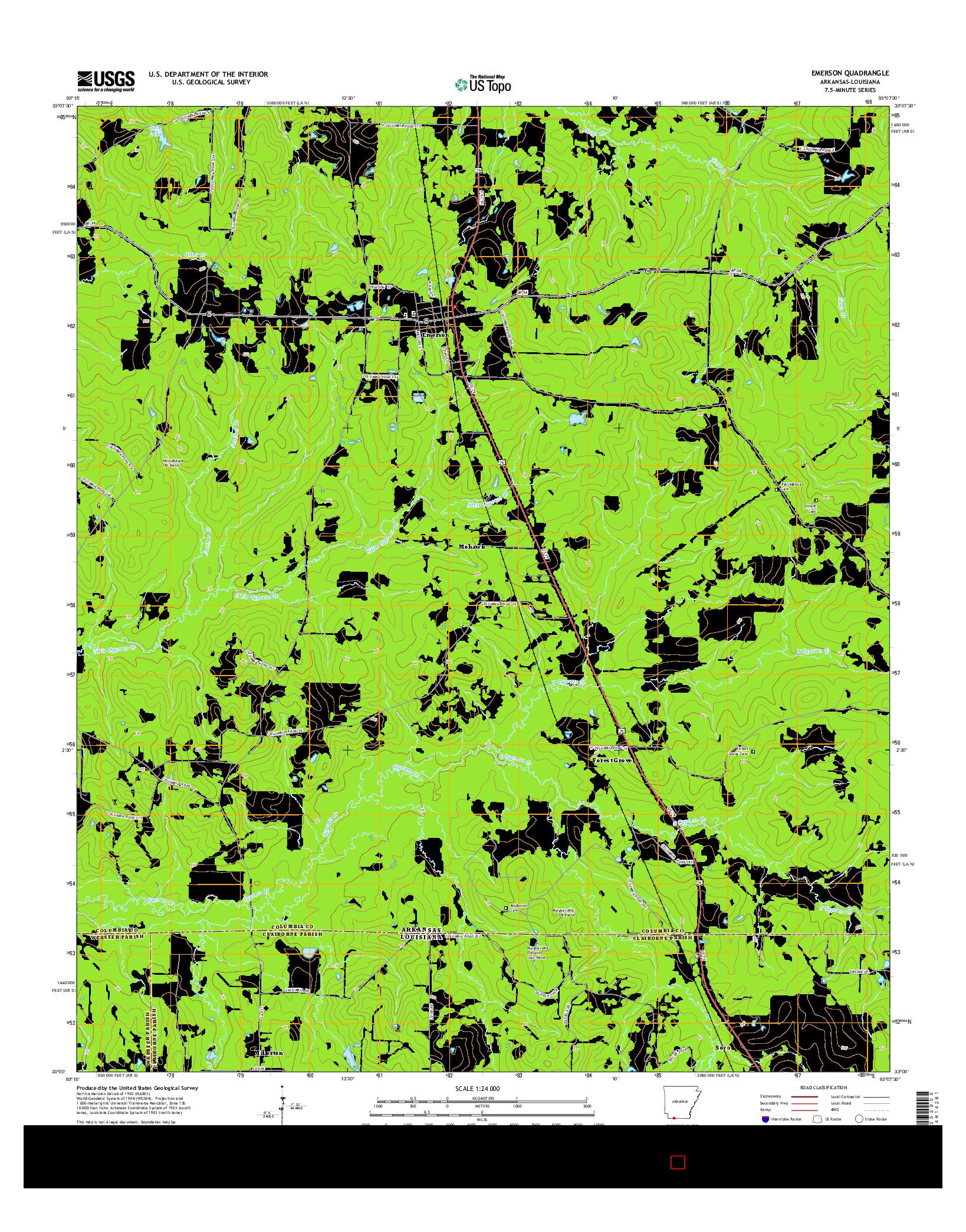 USGS US TOPO 7.5-MINUTE MAP FOR EMERSON, AR-LA 2014
