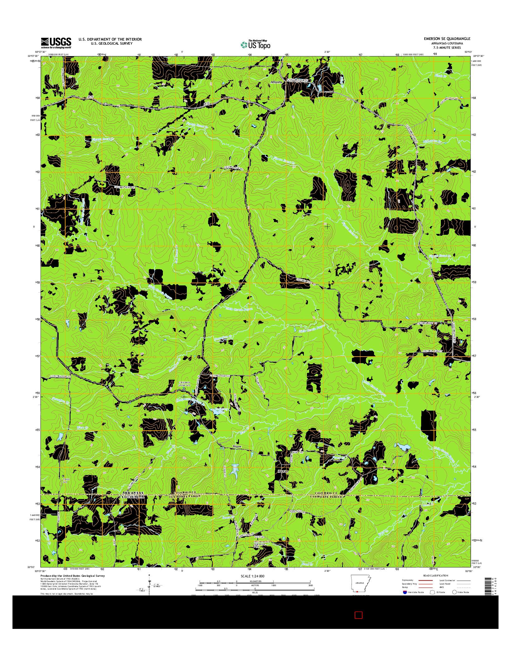 USGS US TOPO 7.5-MINUTE MAP FOR EMERSON SE, AR-LA 2014