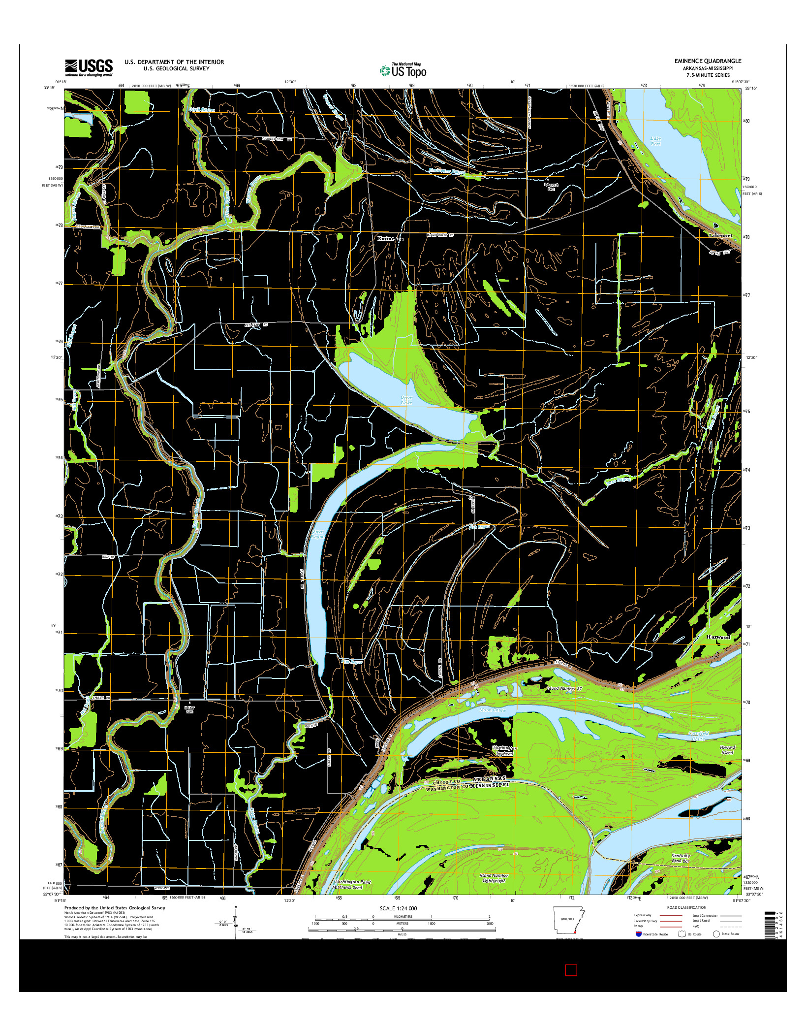 USGS US TOPO 7.5-MINUTE MAP FOR EMINENCE, AR-MS 2014