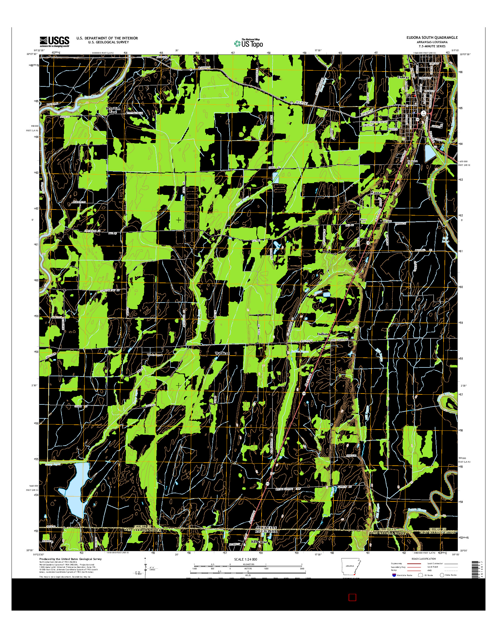 USGS US TOPO 7.5-MINUTE MAP FOR EUDORA SOUTH, AR-LA 2014