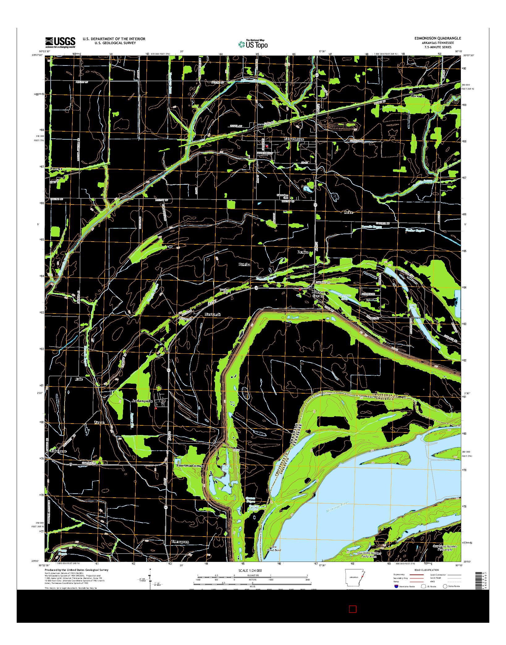 USGS US TOPO 7.5-MINUTE MAP FOR EDMONDSON, AR-TN 2014