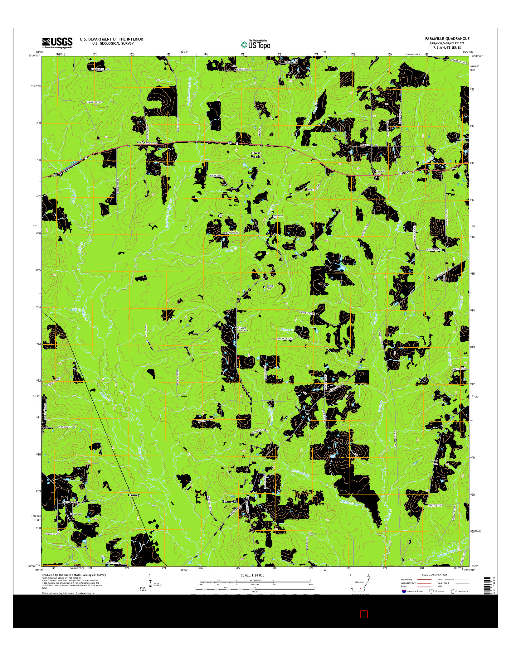 USGS US TOPO 7.5-MINUTE MAP FOR FARMVILLE, AR 2014