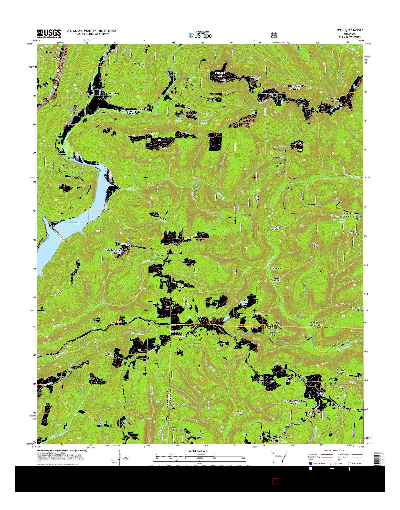 USGS US TOPO 7.5-MINUTE MAP FOR FERN, AR 2014