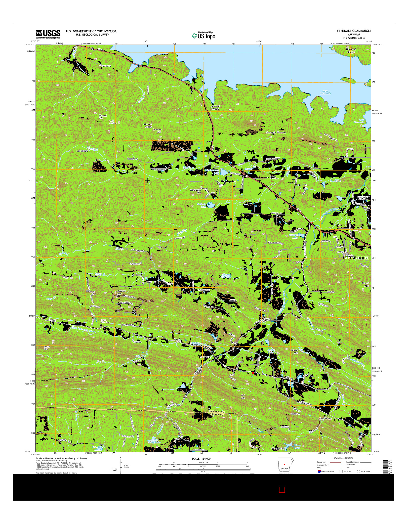 USGS US TOPO 7.5-MINUTE MAP FOR FERNDALE, AR 2014