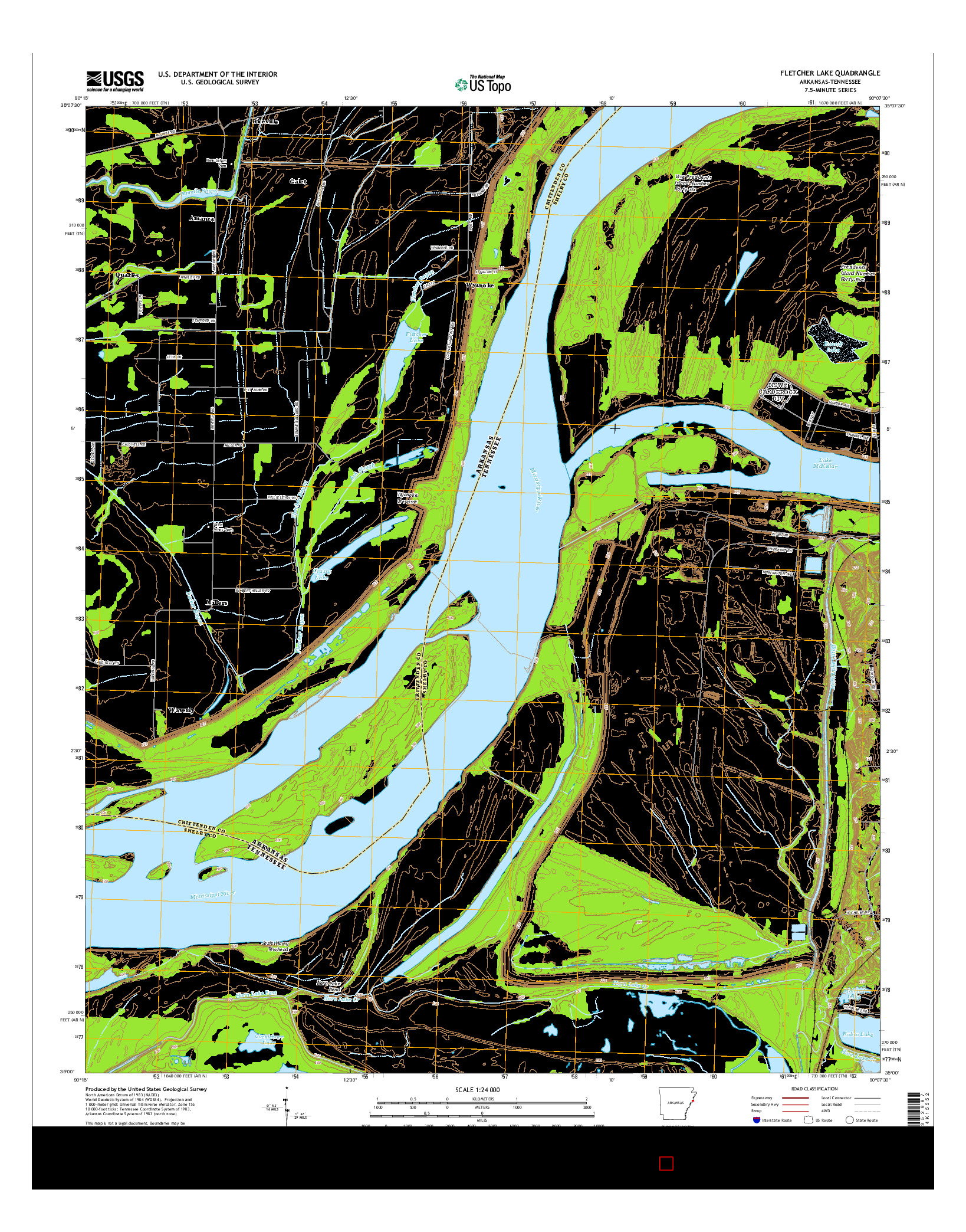 USGS US TOPO 7.5-MINUTE MAP FOR FLETCHER LAKE, AR-TN 2014