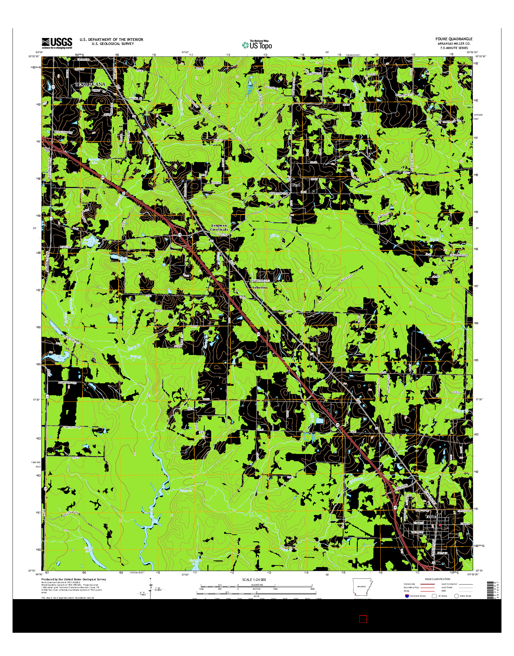 USGS US TOPO 7.5-MINUTE MAP FOR FOUKE, AR 2014