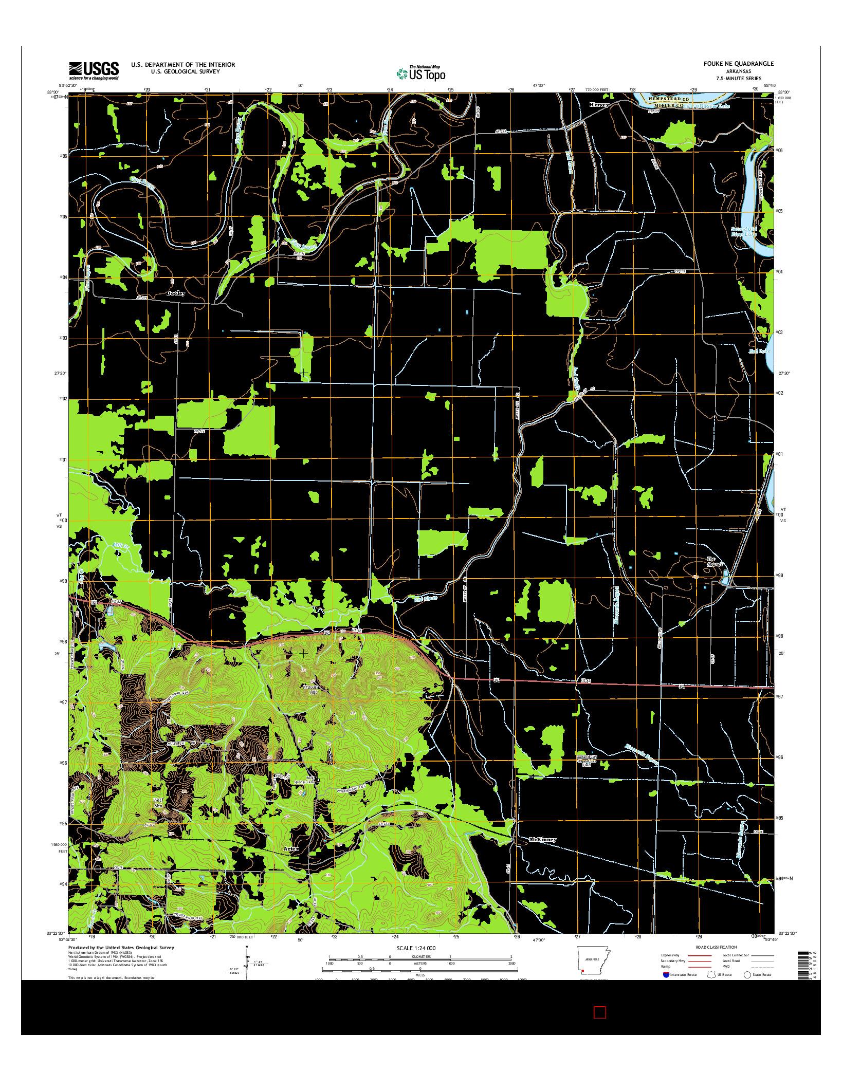 USGS US TOPO 7.5-MINUTE MAP FOR FOUKE NE, AR 2014