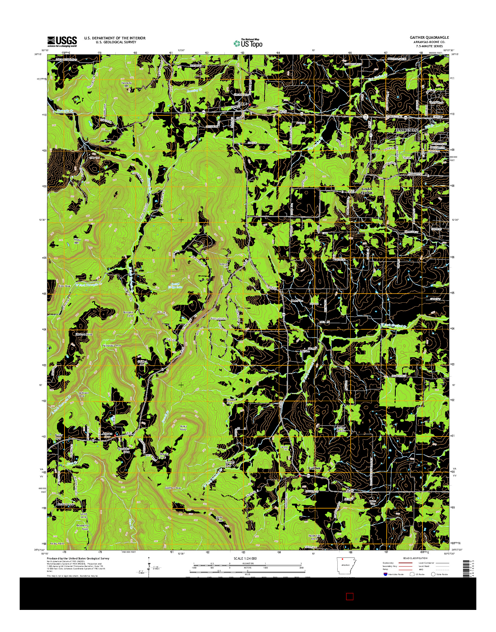 USGS US TOPO 7.5-MINUTE MAP FOR GAITHER, AR 2014