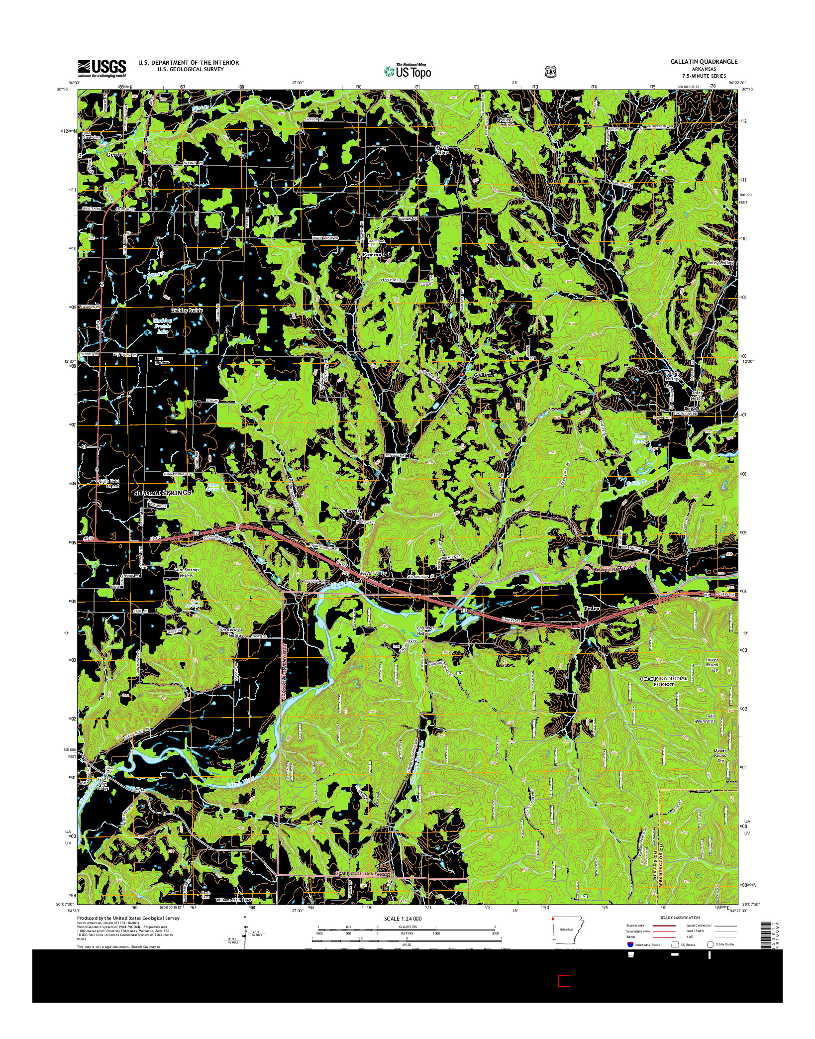 USGS US TOPO 7.5-MINUTE MAP FOR GALLATIN, AR 2014