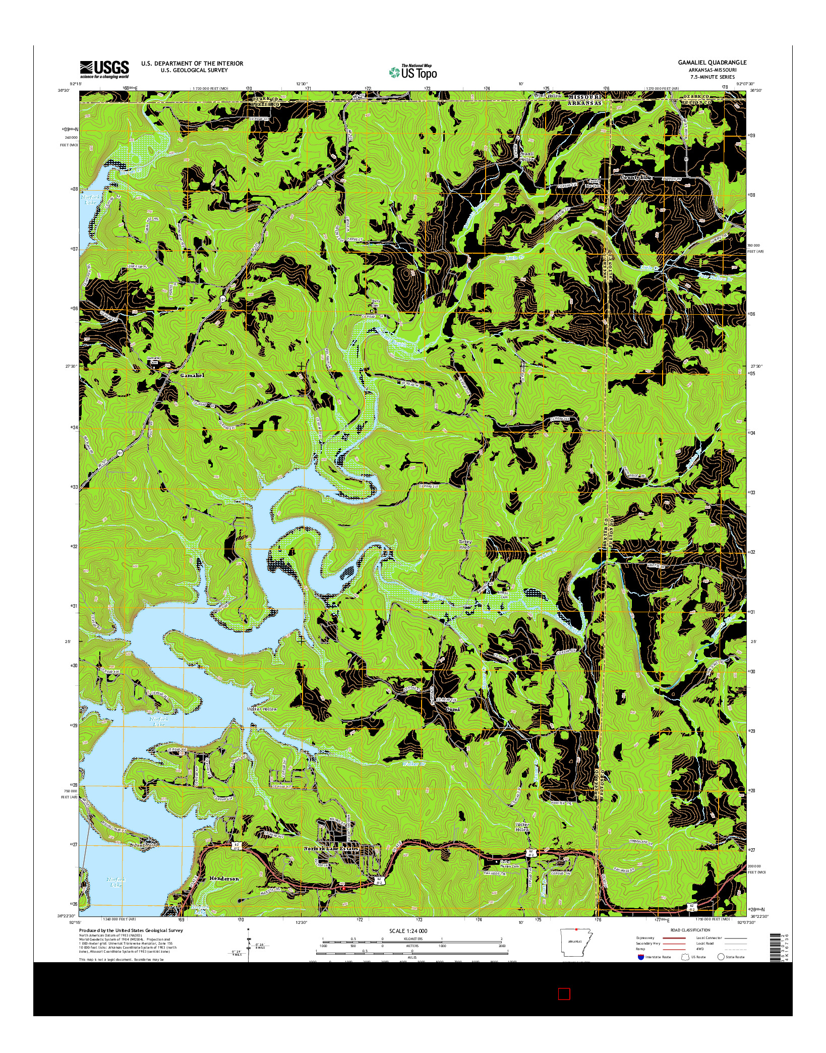 USGS US TOPO 7.5-MINUTE MAP FOR GAMALIEL, AR-MO 2014