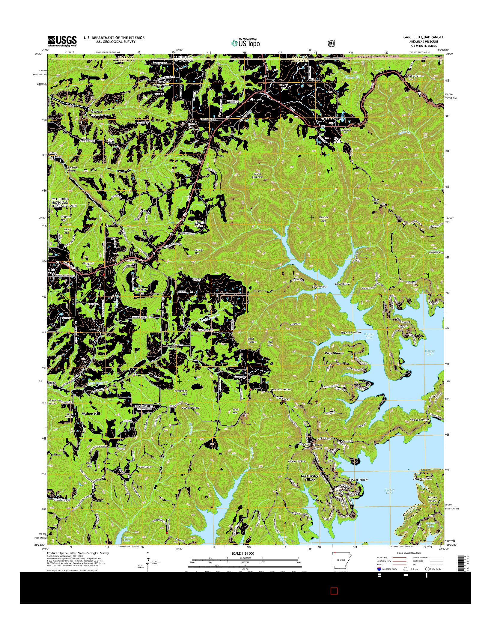 USGS US TOPO 7.5-MINUTE MAP FOR GARFIELD, AR-MO 2014