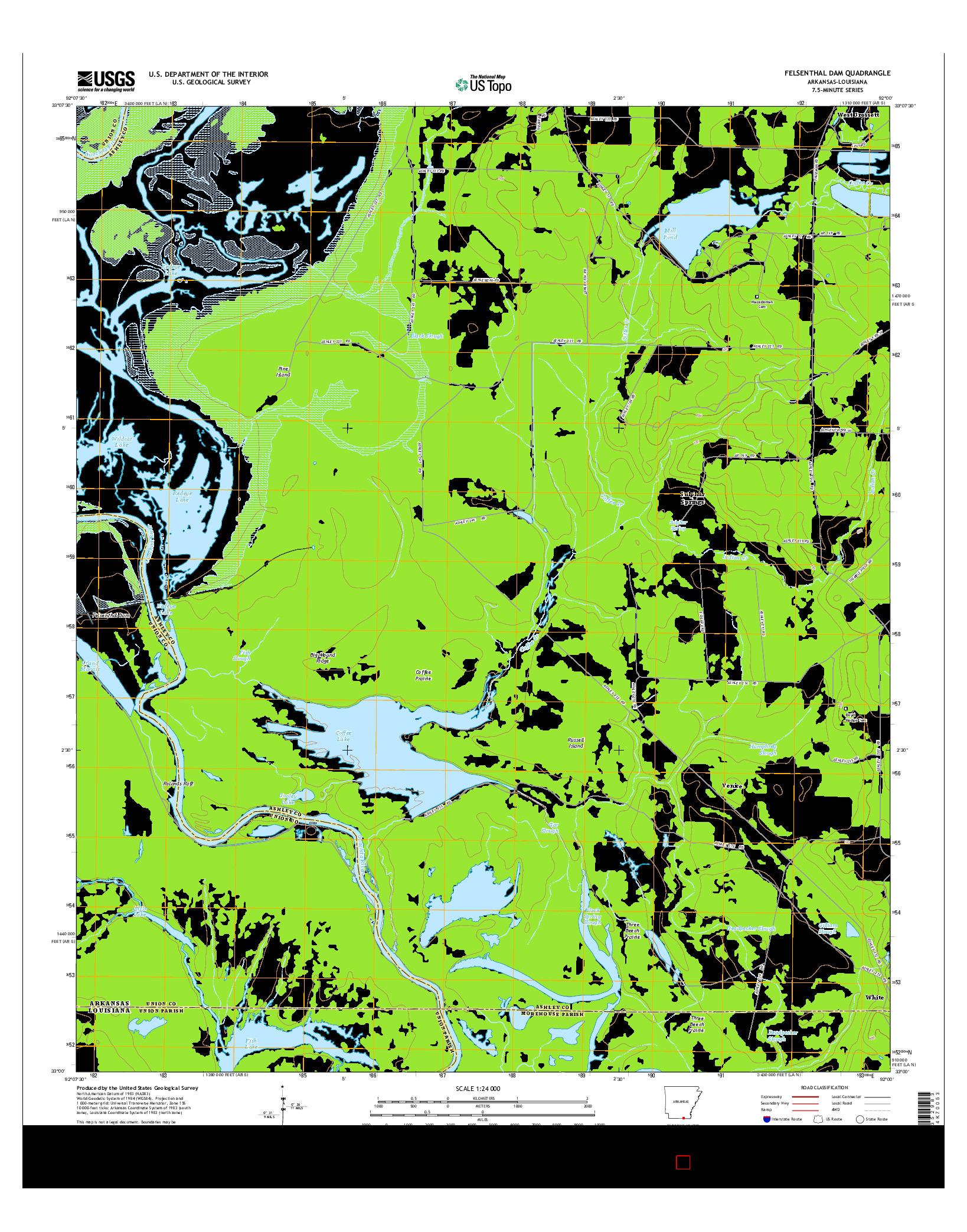USGS US TOPO 7.5-MINUTE MAP FOR FELSENTHAL DAM, AR-LA 2014