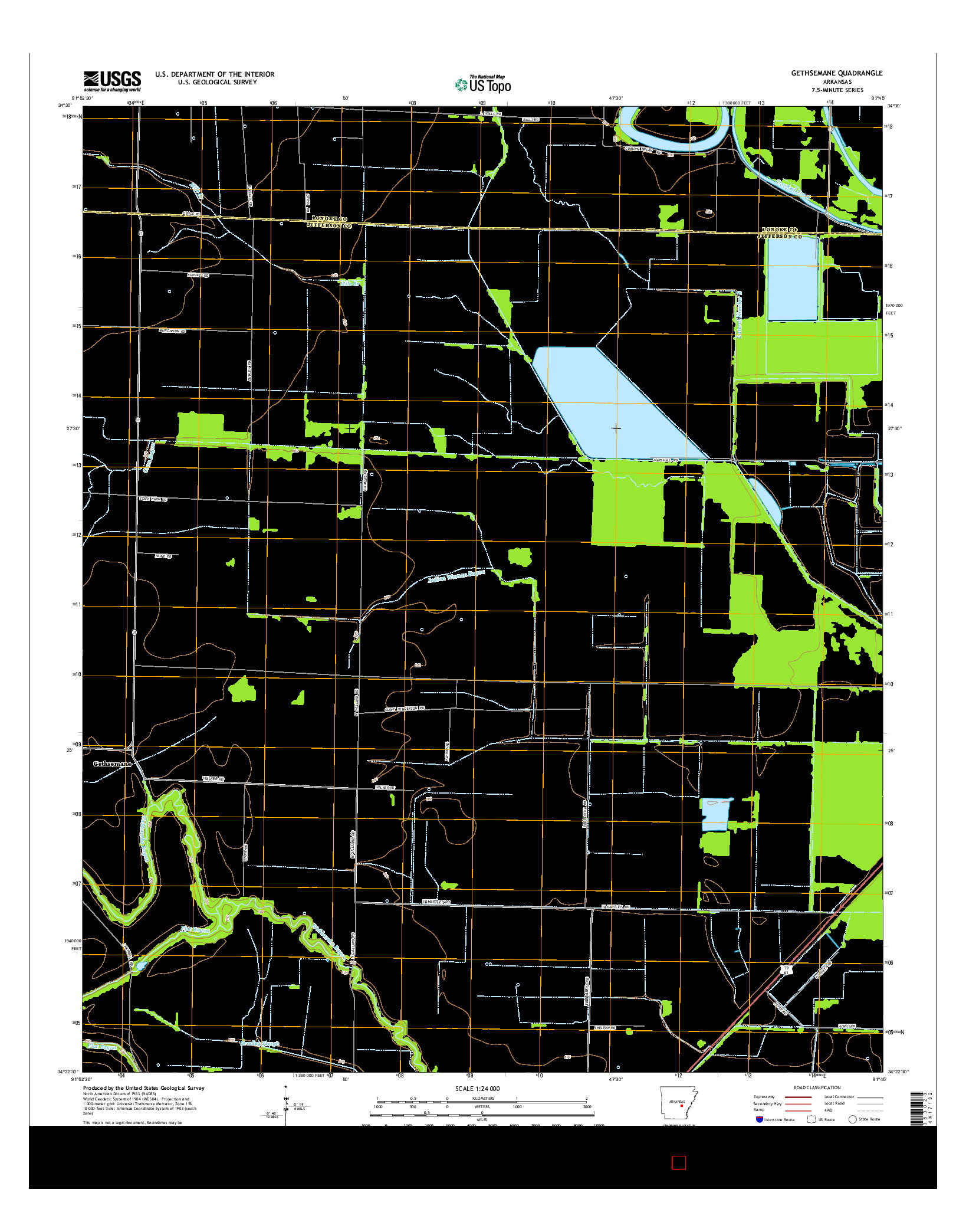 USGS US TOPO 7.5-MINUTE MAP FOR GETHSEMANE, AR 2014