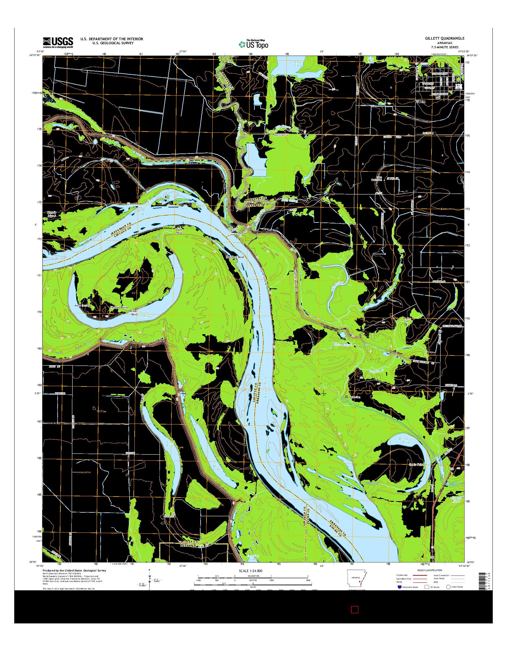 USGS US TOPO 7.5-MINUTE MAP FOR GILLETT, AR 2014