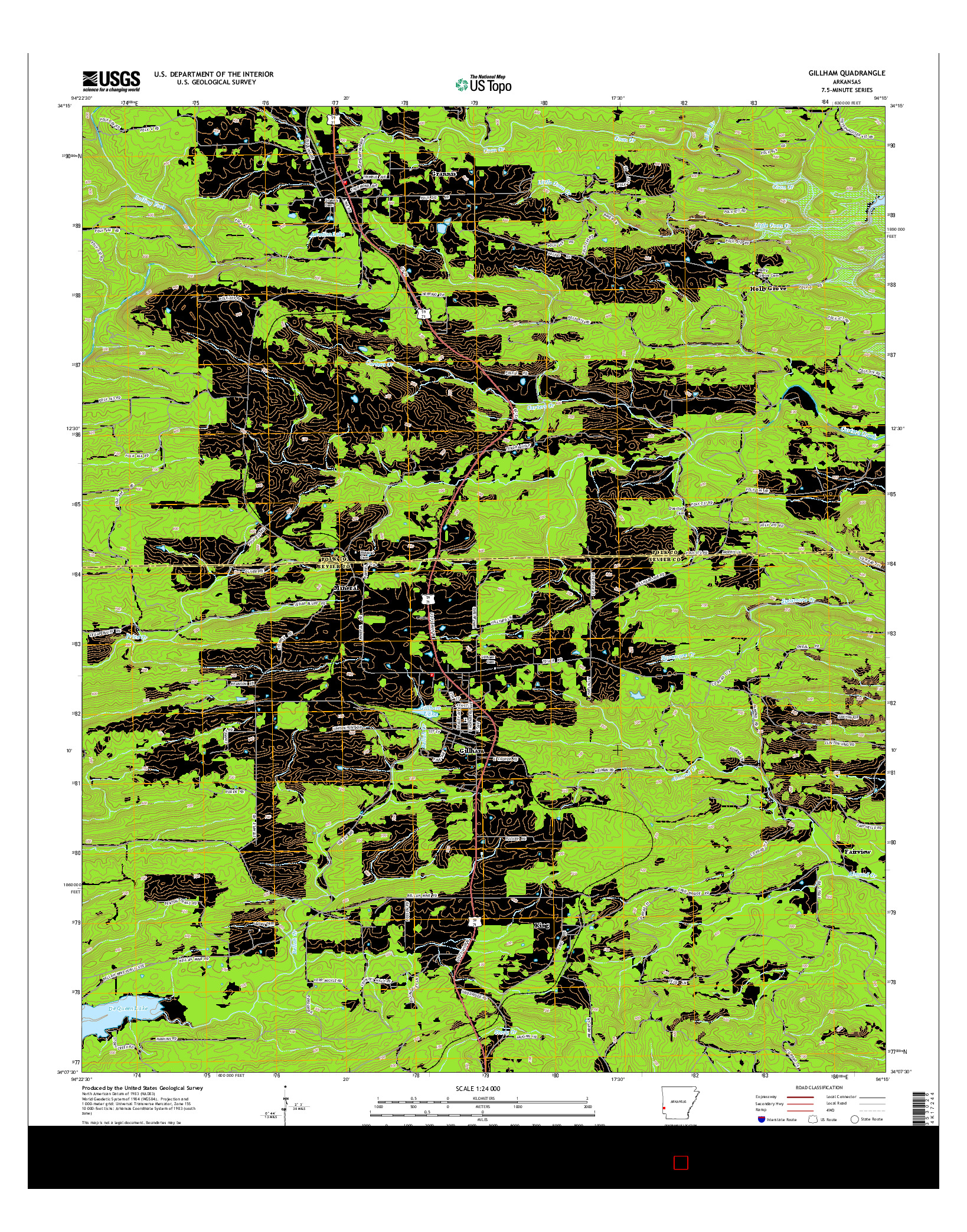USGS US TOPO 7.5-MINUTE MAP FOR GILLHAM, AR 2014