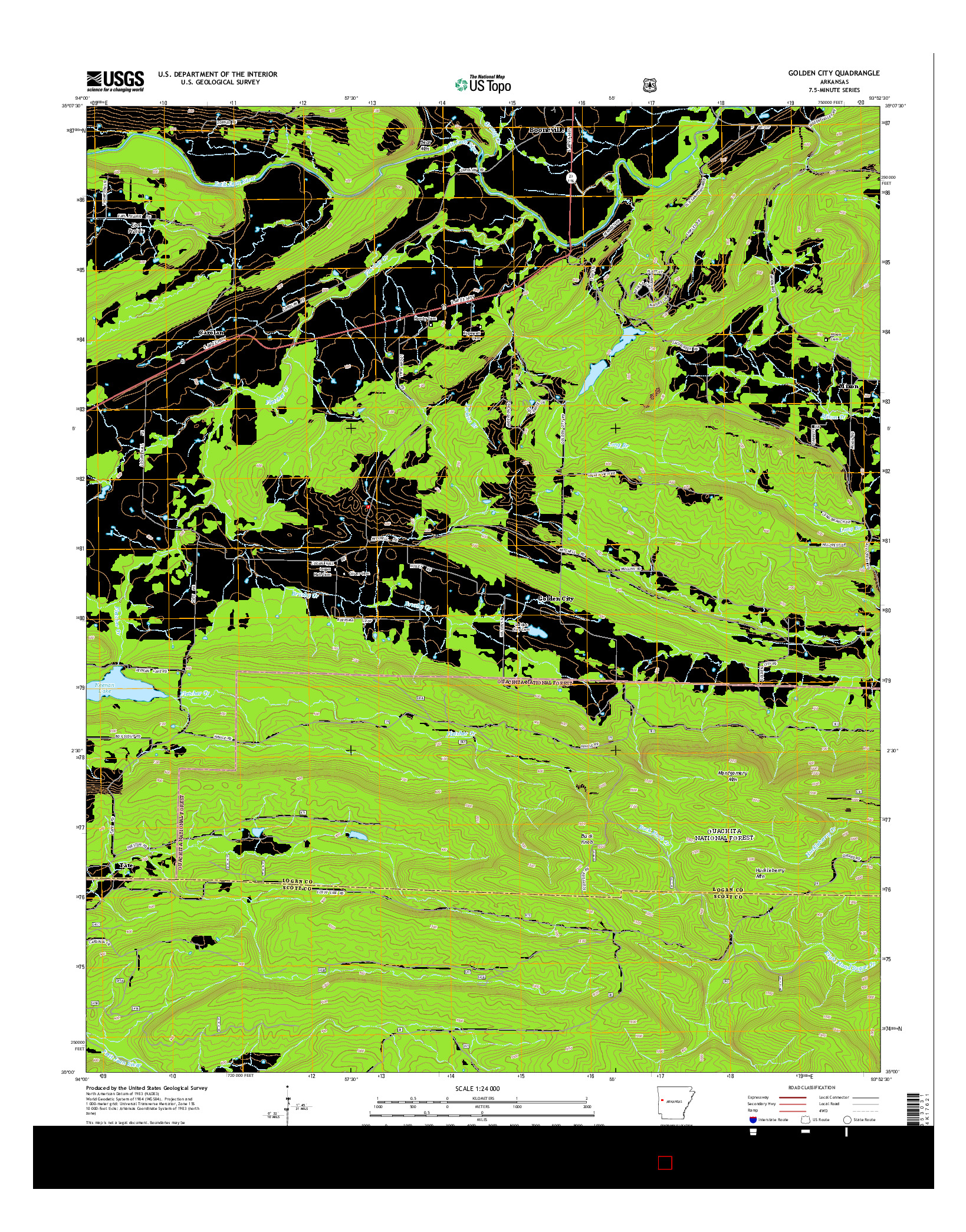 USGS US TOPO 7.5-MINUTE MAP FOR GOLDEN CITY, AR 2014